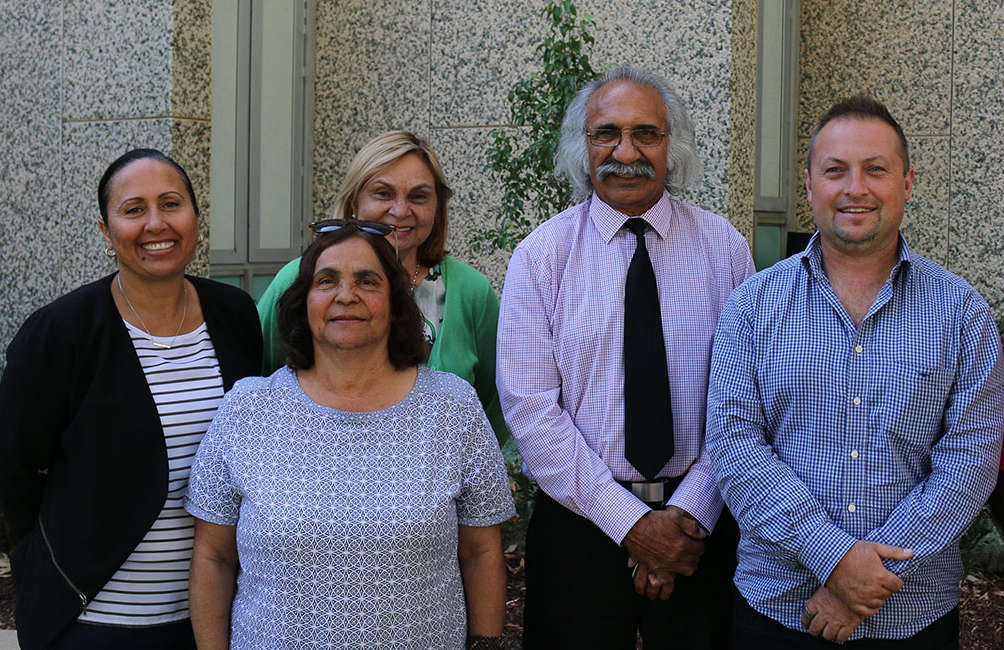 2018 members of the Mobile Language Team Aboriginal Policy and Advocacy Committee (MLTAPAC). From left to right: April Lawrie,Verna Koolmatrie, Lorraine Merrick, Trevor Buzzacott and Jared Thomas (Absent Rod O'Brien).