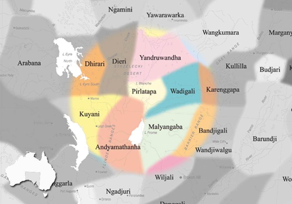 DISCLAIMER:  The above map is based upon the Horton Indigenous Map of Australia © Aboriginal Studies Press, AIATSIS, and Auslig/Sinclair, Knight, Merz, 1996. The full map is available on the  AIATSIS  website. The locations of the languages of SA, as stated on the this website are not intended for Land Claim use, and are an approximate guide only. Individual language project locations are based on information from publicly available MILR (ILS) documents.