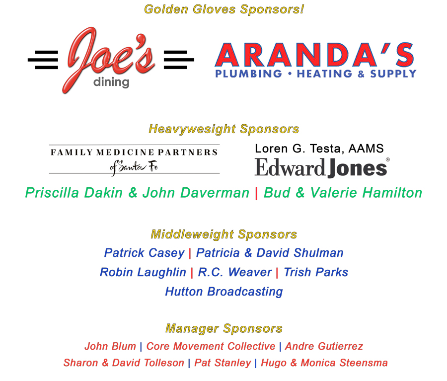 A heartfelt  Thank You  to each and every one of our sponsors for supporting POP Santa Fe and Rock Steady Boxing-Santa Fe. Investing in a sponsorship ensures that POP Santa Fe is able to provide financial assistance for those living with Parkinson's Disease who might not otherwise be able to attend class.