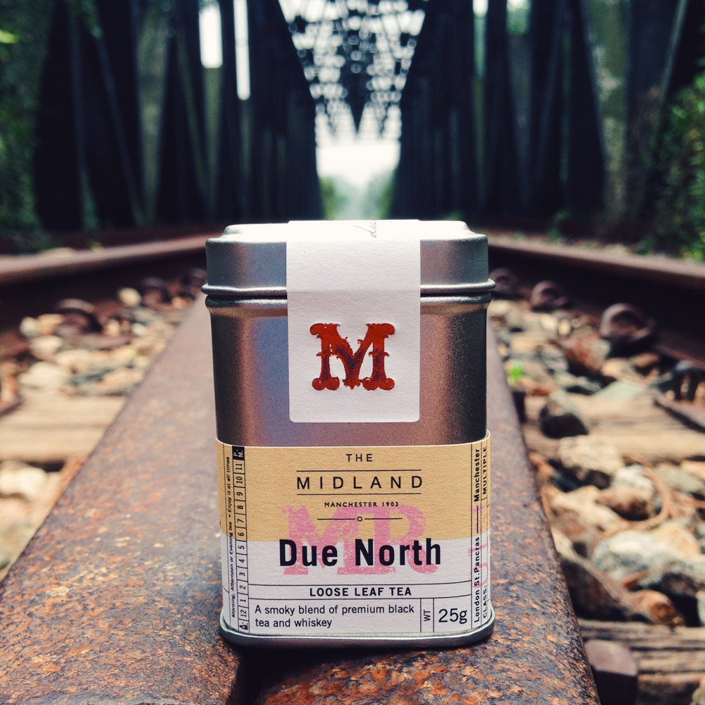 - Due North is a tribute to The Midland as the northern most station from London St Pancras to Manchester. Smokey with whiskey notes, it conjures images of Victorian travel with gentlemen in top hats, cigars and whiskey in hand.The packaging design was a leaf out of history, inspired by old vintage train tickets, while the design for the turn down service's tea, Sleep Well, was inspired by the new colour scheme of the rooms and sunset hues.
