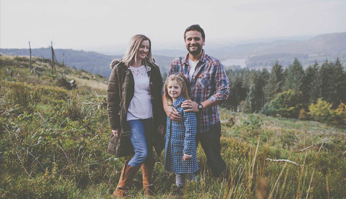 Forest Gin founder, Karl Bond and wife, Lindsay, and daughter Harriet.