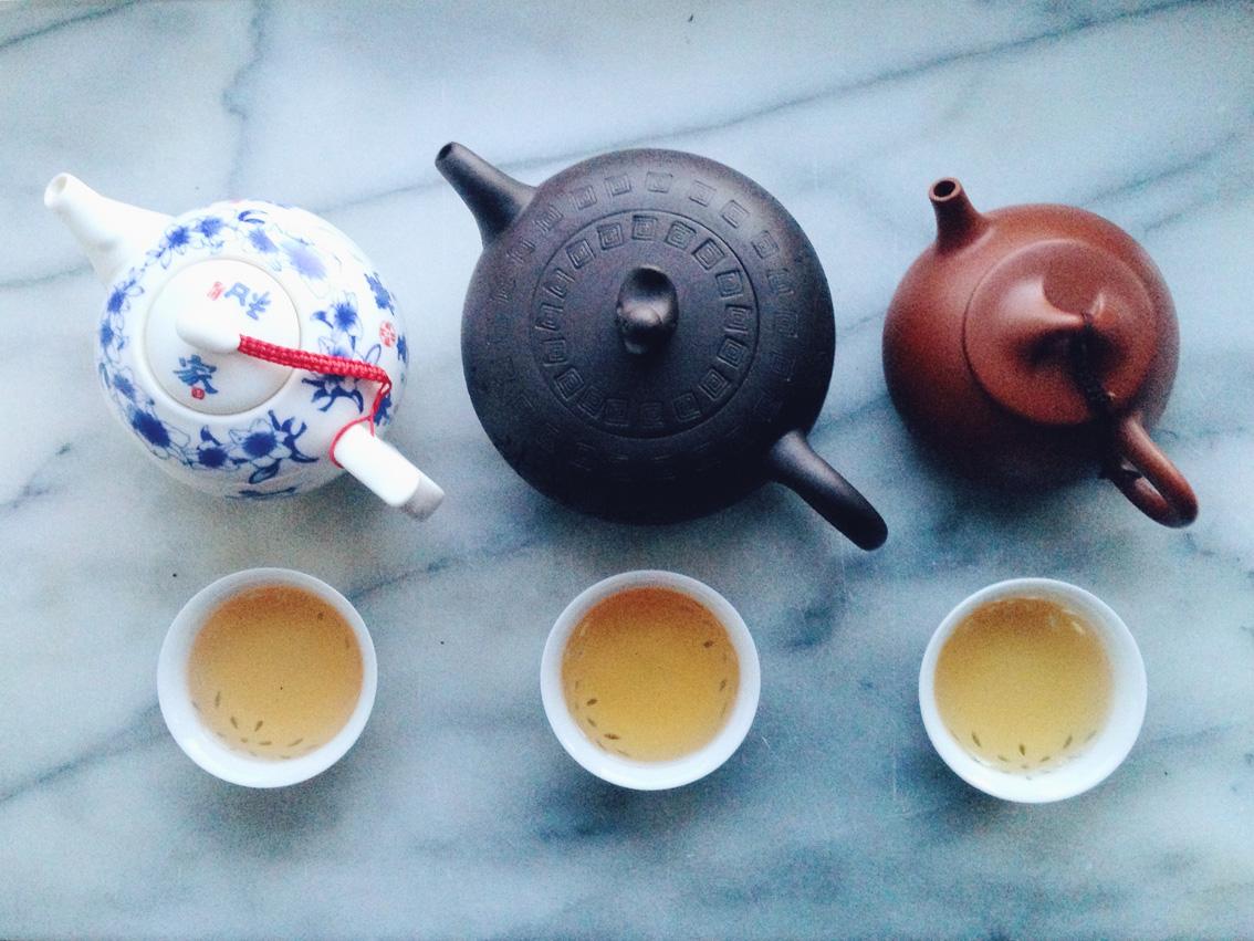 Brewed tea from left: Xiang Zhi Zhi, Tie Kuan Yin and Bu Zhi Xiang.