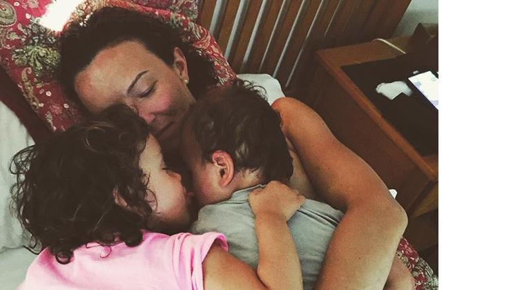 Amanda with her children, Winnie and Freddie.