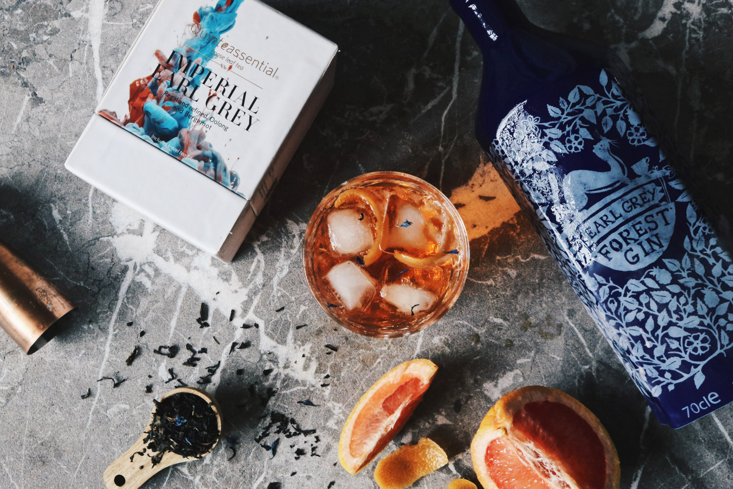 Quinteassential and Forest Gin – Earl Grey Forest Gin, an earl grey infused gin