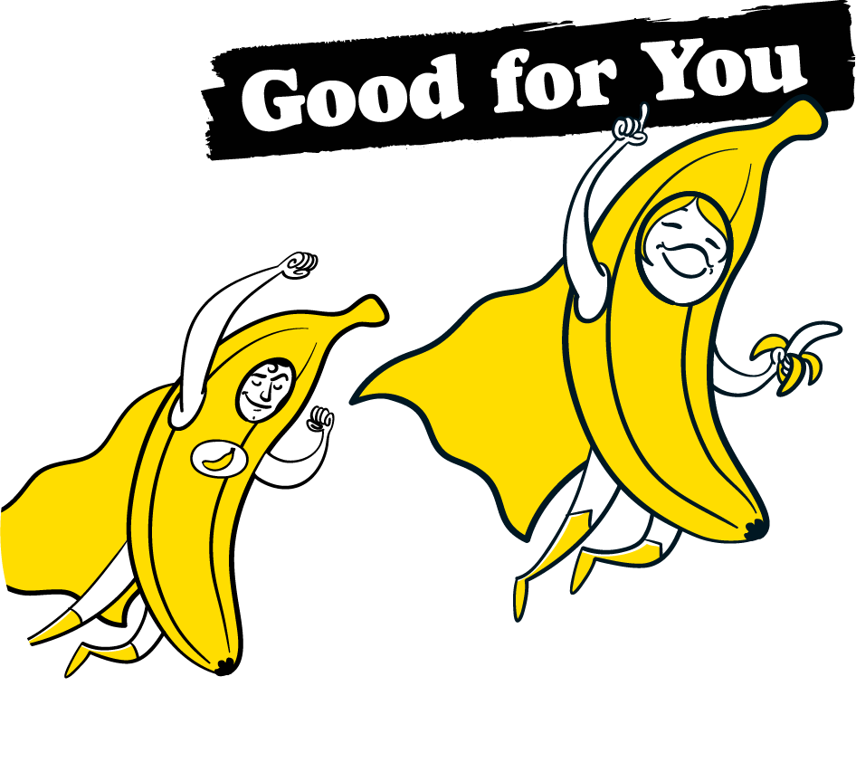How Can All Good Bananas be Better for You? - As well as being free of the cocktail of chemicals used in conventional banana production, our bananas are packed with energy and healthy nutrition making them the perfect addition to any lunchbox, athlete's diet, guilt free get-up-and-go snack for breakfast of champions. Packed full of natural sugar that's readily converted into energy (glucose, fructose, sucrose) and fiber, bananas are an ideal snack for an immediate and prolonged power surge. This is why athletes love them, because these sugars and the potassium they contain deliver such a high-energy hit. Bananas also contain some powerfully good natural nutrients including vitamin B6 and tryptophan, a type of protein your body converts into serotonin. This helps you relax, improving your mood and generally making you feel good. With All Good Bananas you can eat healthy with a healthy conscience. That's why it's in our name.