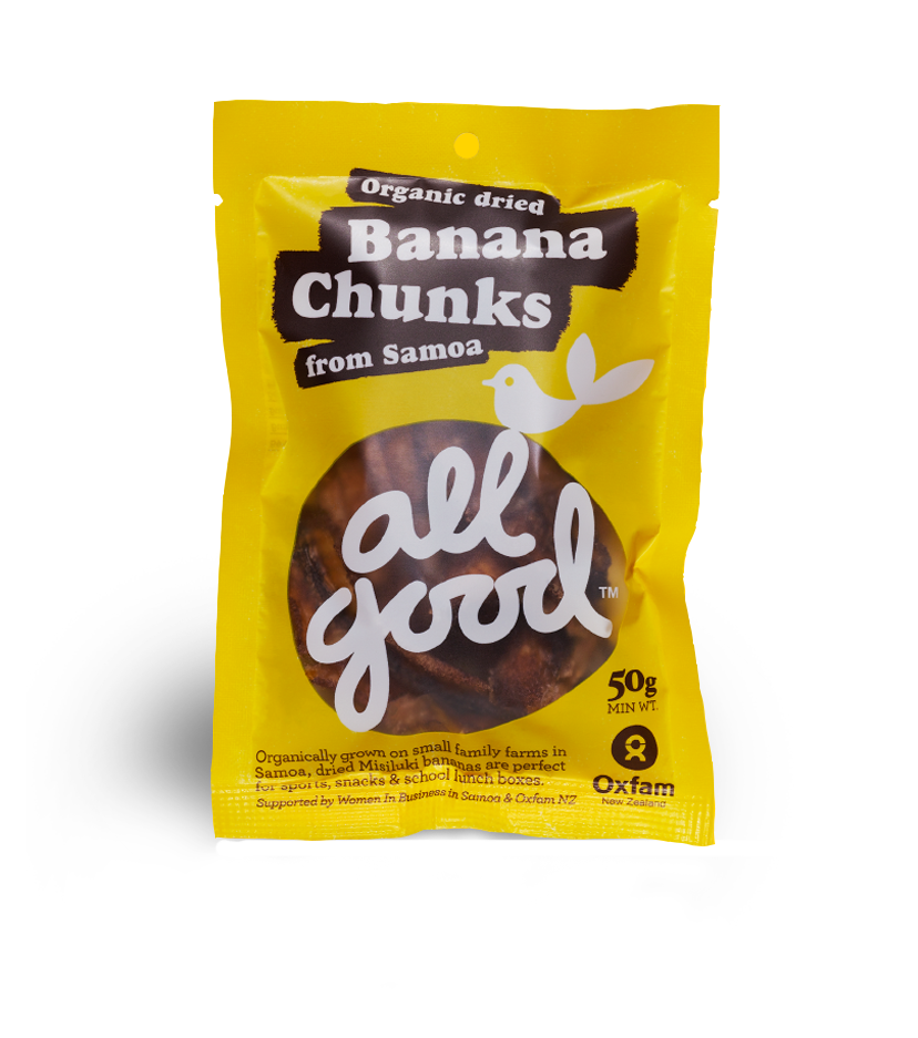 All Good Organic Banana Chunks - A delicious energy boosting snack in a handy pack.Organically grown on small family farms in Samoa, dried Misiluki bananas are perfect for sports, snacks and school lunch boxes.Best of all these little lady finger Misiluki bananas are naturally sweeter than the more widely available Cavendish bananas so they're a sweet, healthy, tasty treat on their own. No preservatives, no sugar, no sweetener. Nothing but banana and a little lime juice, hot air dried to intensify their delicious flavour.Like everything we make, All Good Banana Chunks deliver a fair deal for farmers and their families in Samoa and great tasting banana chunks for you.