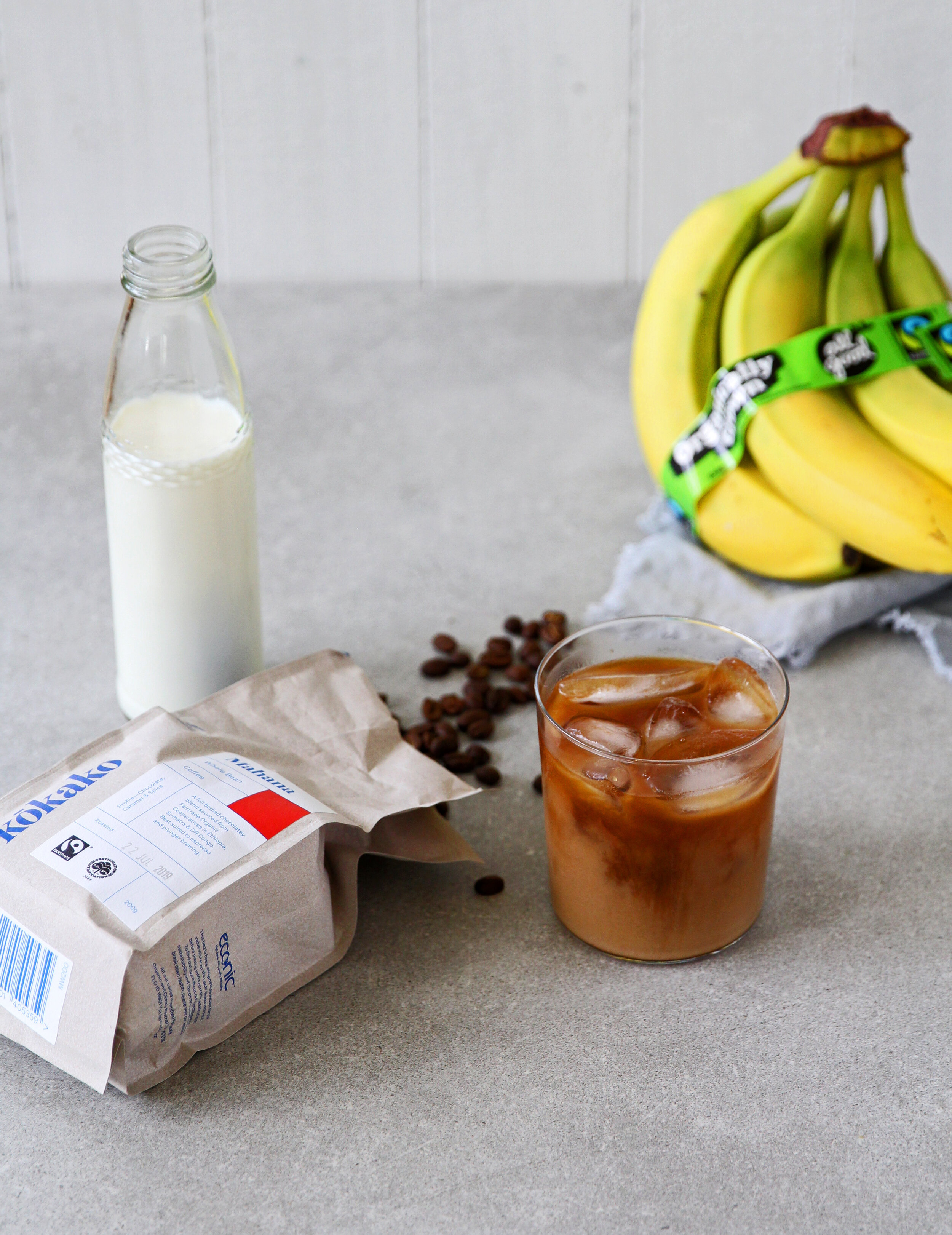 INGREDIENTS - 1 cup milk (you can use a non-dairy milk like almond or coconut)1 ripe All Good banana1 ½ cups cold brew coffee or cooled regular coffeeIce cubes as needed.