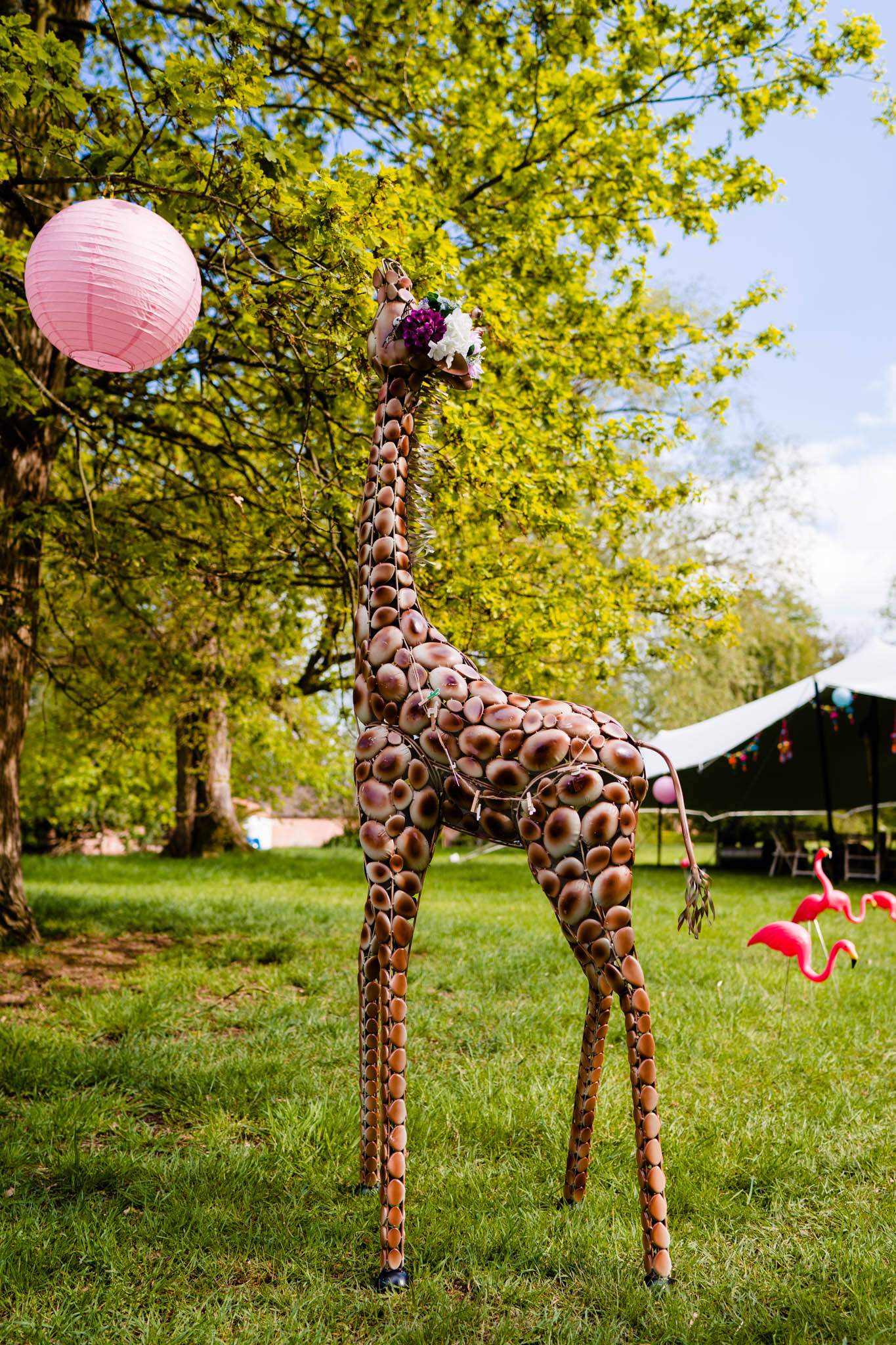Giraffe available to hire from Wildly Wonderful Weddings -  https://wildlywonderful.co.uk/   Photography - Vicki Clayson Photography -  https://www.vickiclaysonphotography.com/