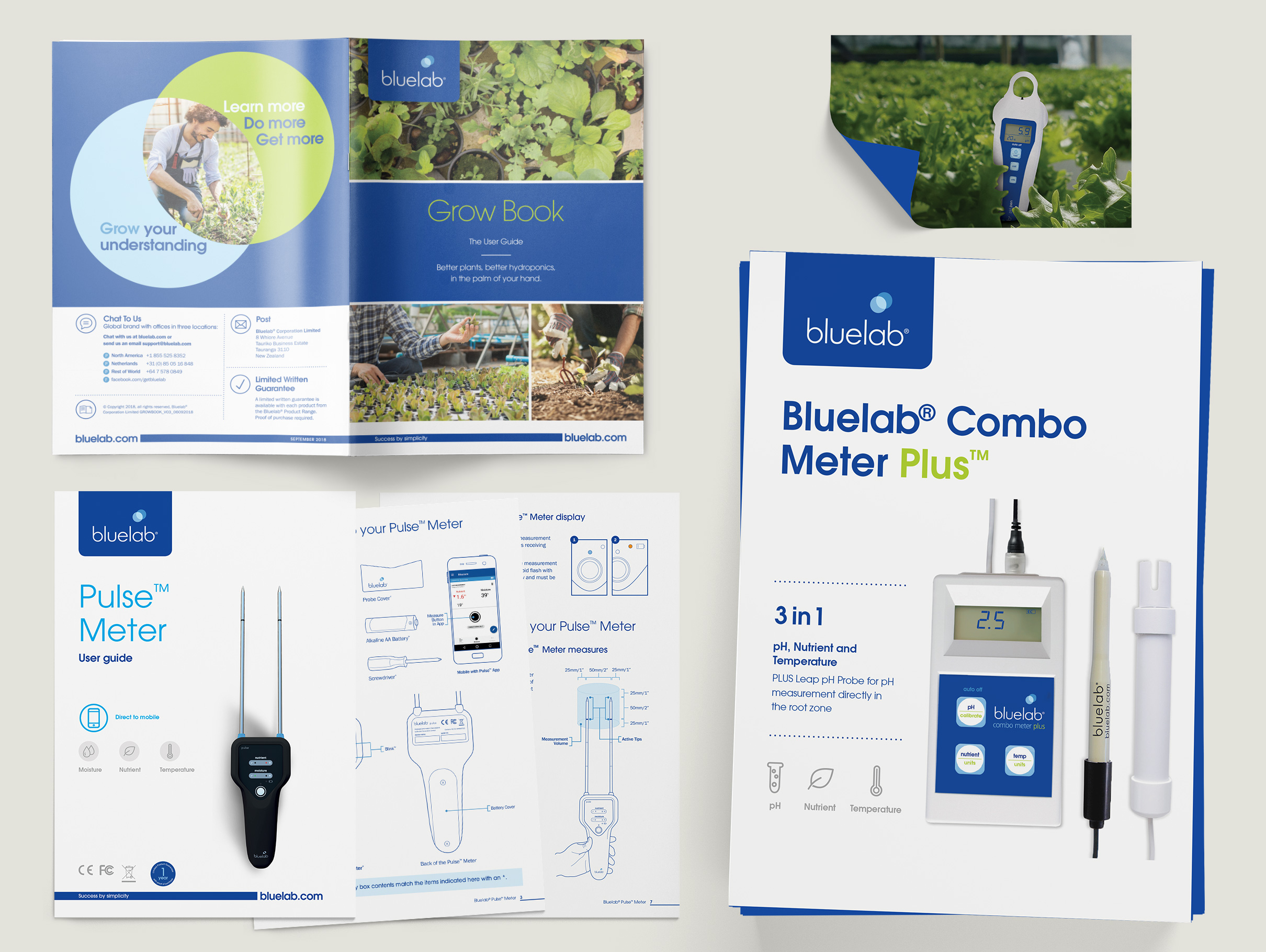 Bluelab: Brand management, packaging, multi-lingual product manuals, posters, label design, stationery, advertising and promotional material.
