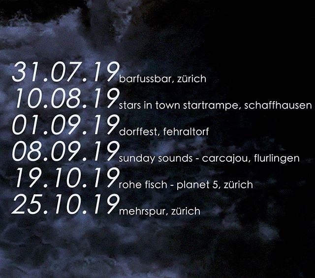 upcoming gigs! #specificocean #zurich #schaffhausen #fehraltorf #barfussbar #mehrspur #planet5 #starsintown #sundaysounds #flurlingen #carcajou