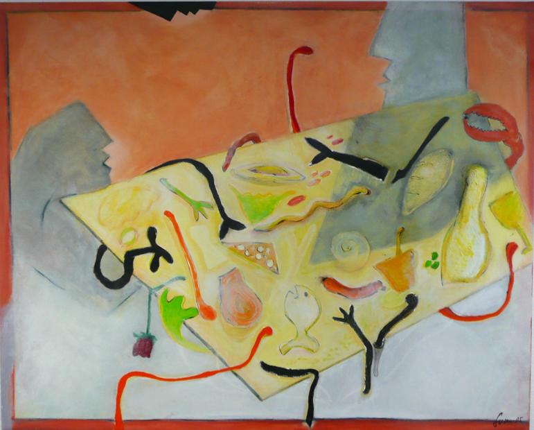 Ehe-mahl 130x110, Acryl auf Holz, 2005