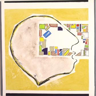 Kopf II, 90x90, Eitempera auf Leinen