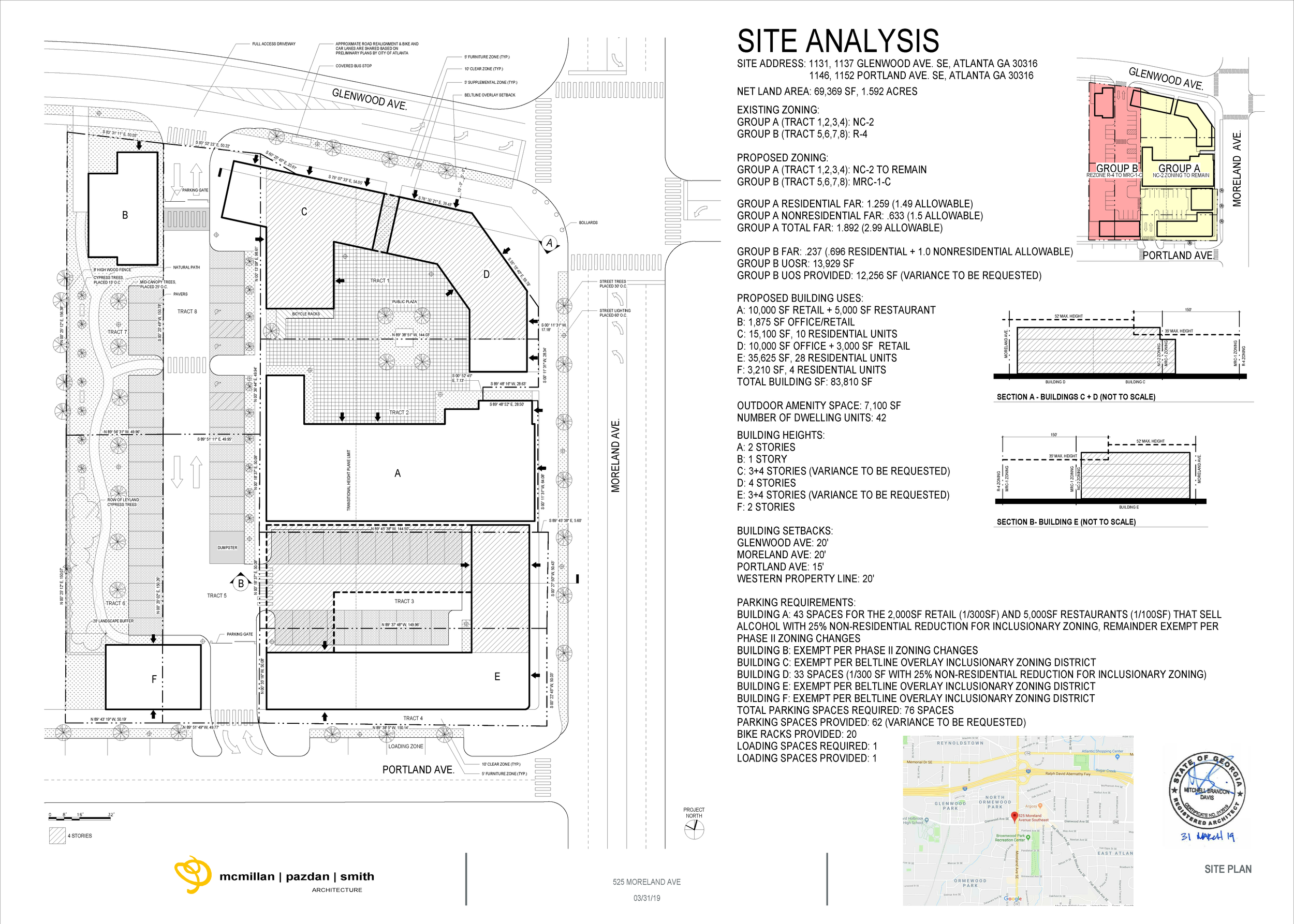 Final approved site plan for the rezoning.