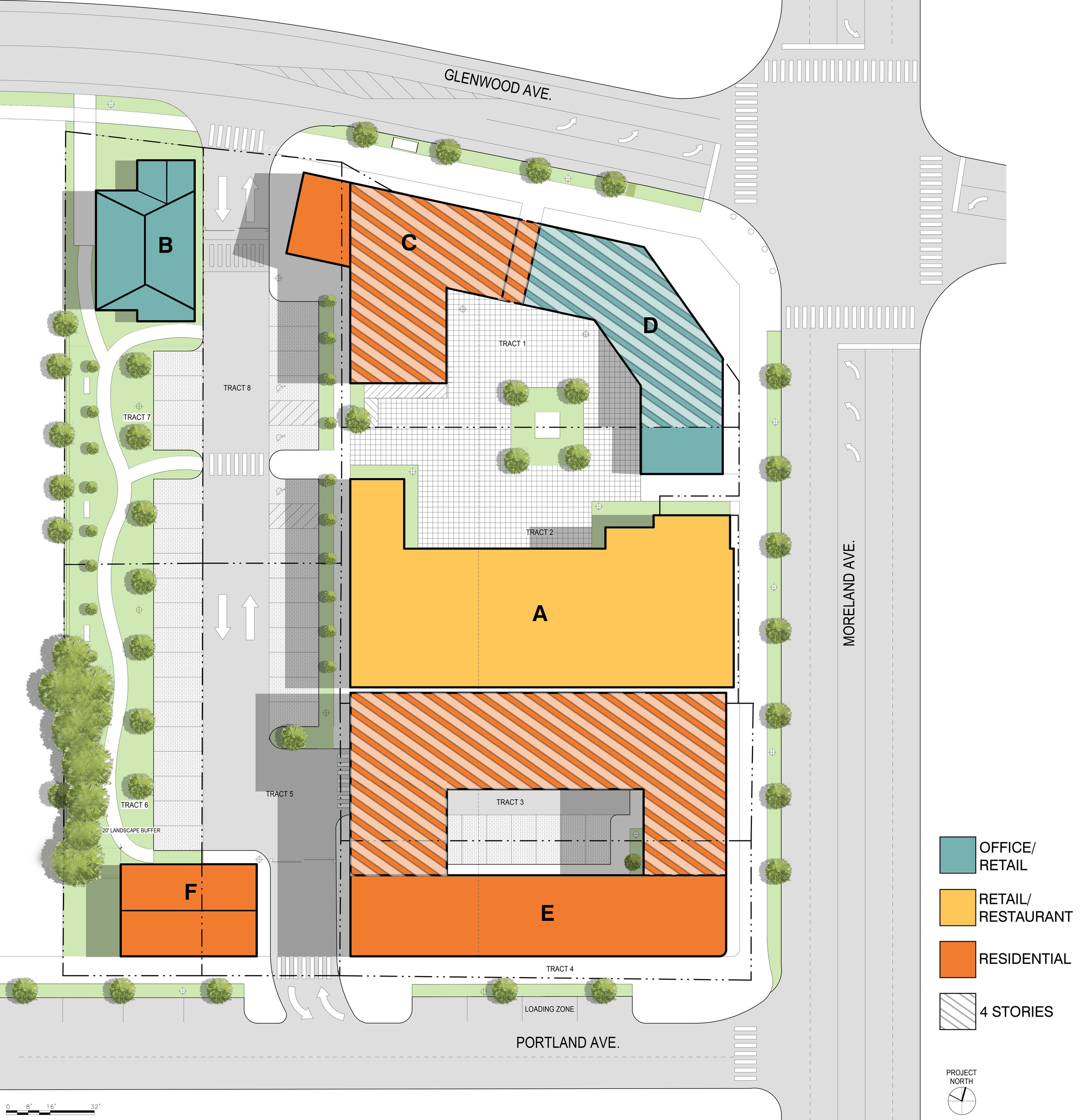 Illustrative color-coded site plan.
