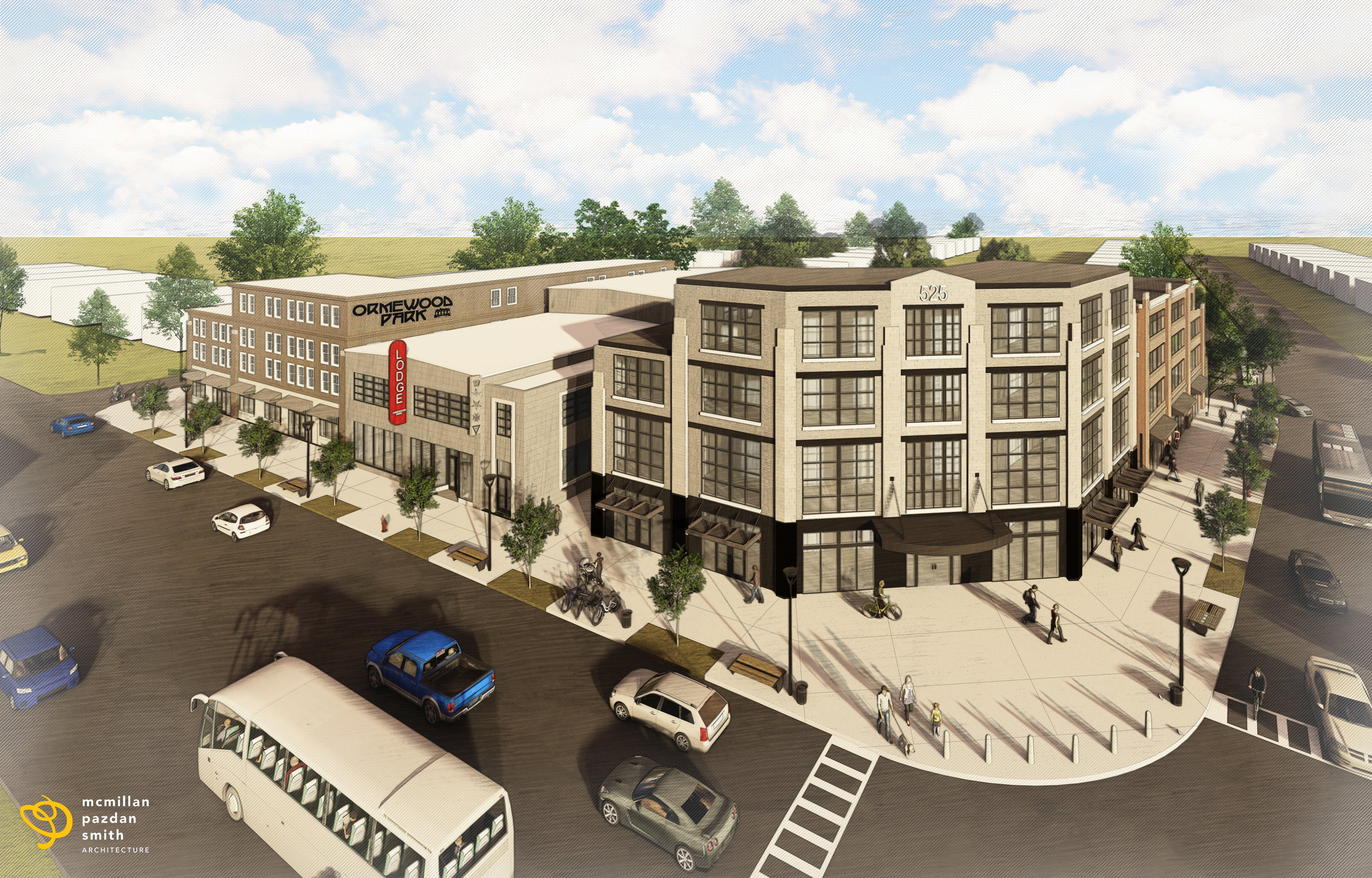 Conceptual rendering at the intersection of Moreland Ave and Glenwood Ave looking southwest.