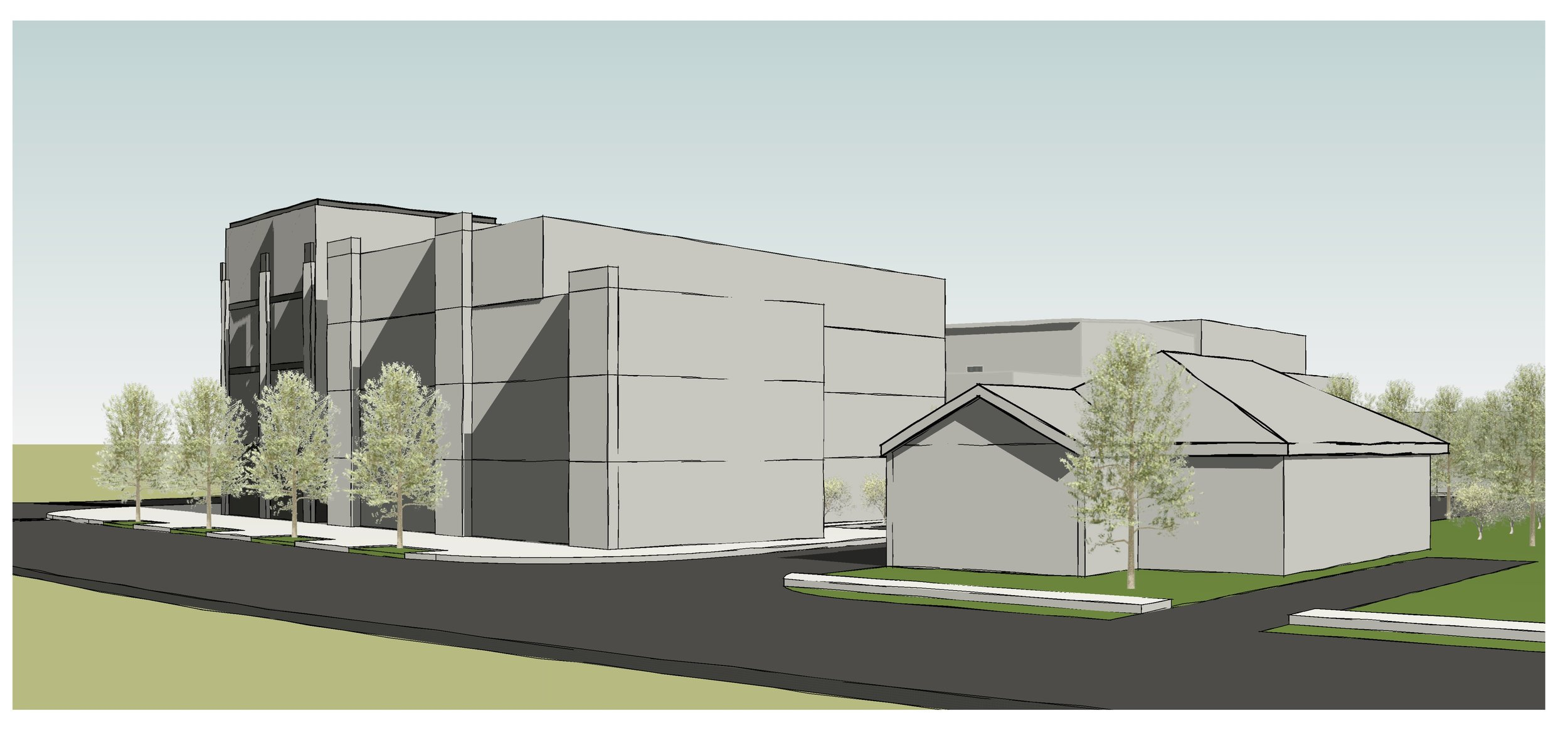 Conceptual massing from Glenwood Ave looking east toward Moreland Ave.