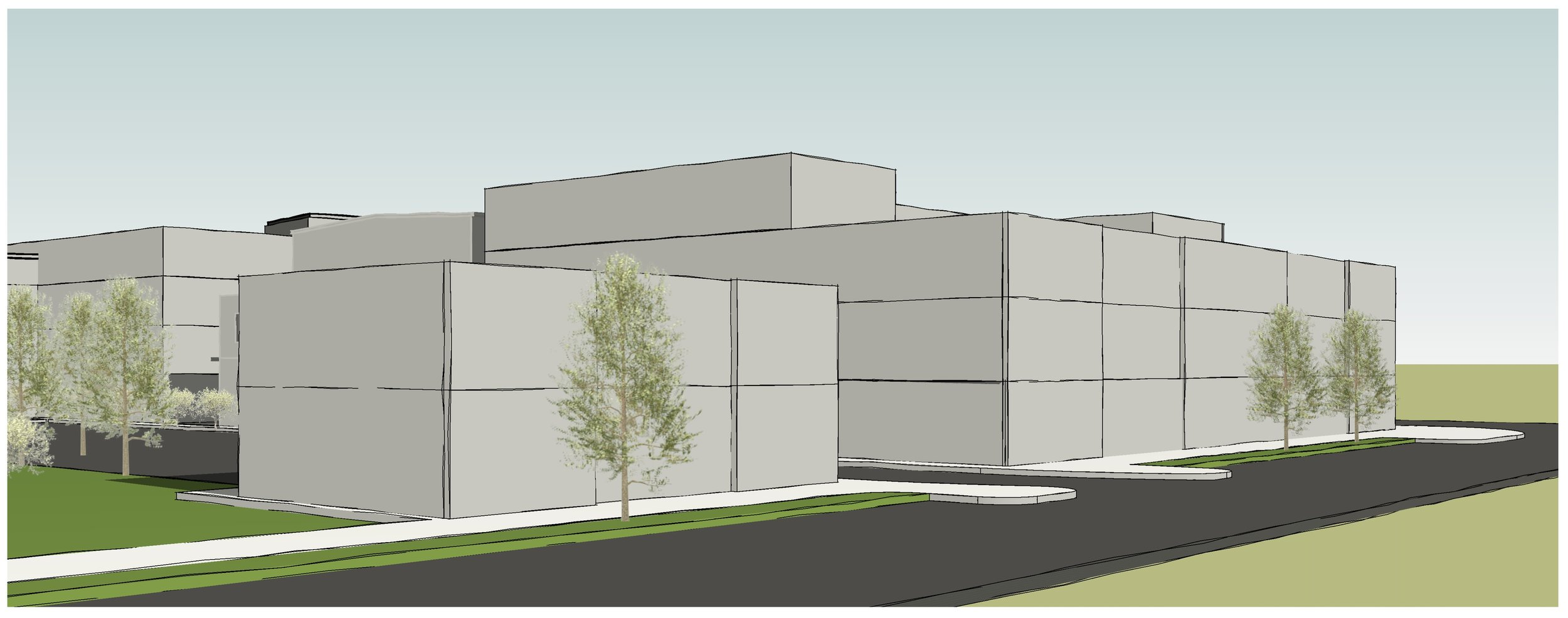 Conceptual massing from Portland Ave looking east toward Moreland Ave.