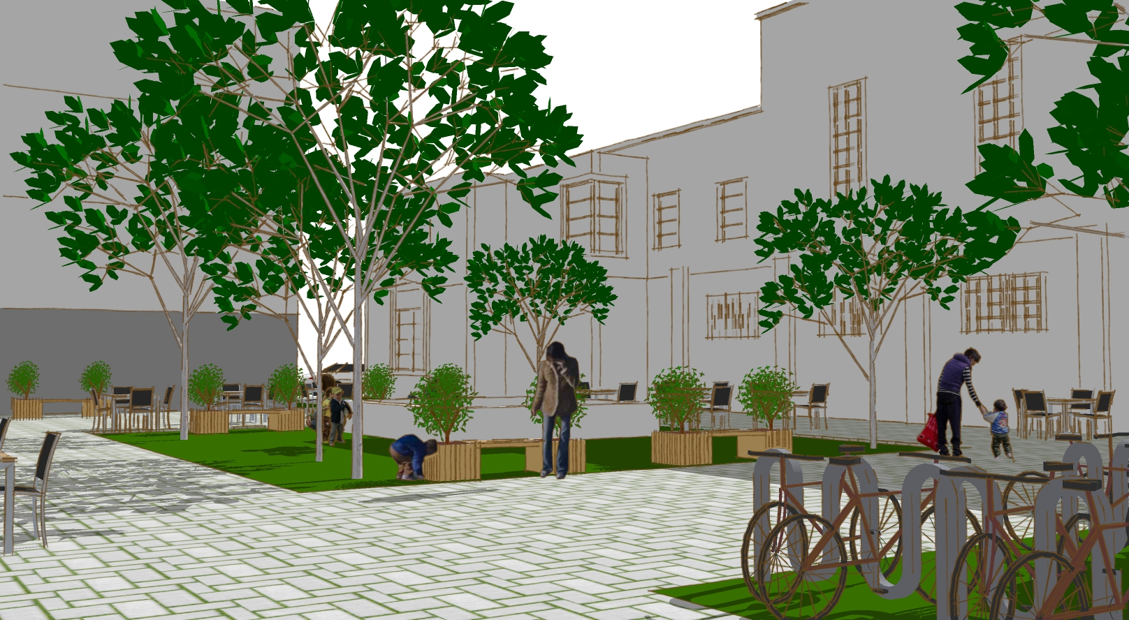 Conceptual rendering of the public plaza with the Masonic Lodge in the background.