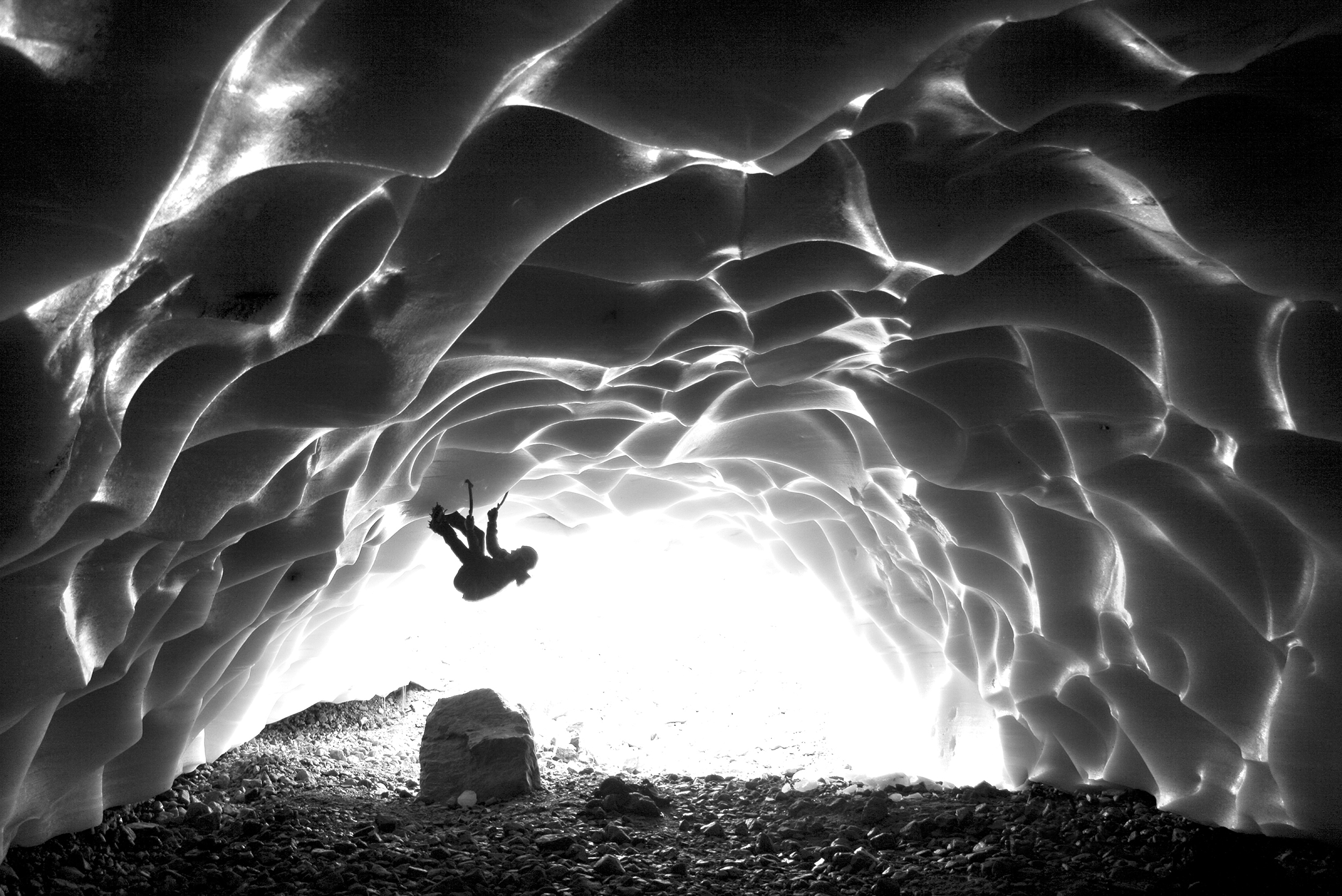 Jarret Long in the Cavell ice cave