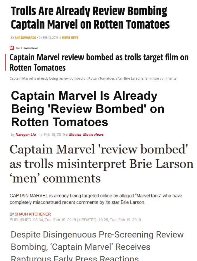 Media Claims Captain Marvel Is Being Review Bombed By Trolls/Fanboys