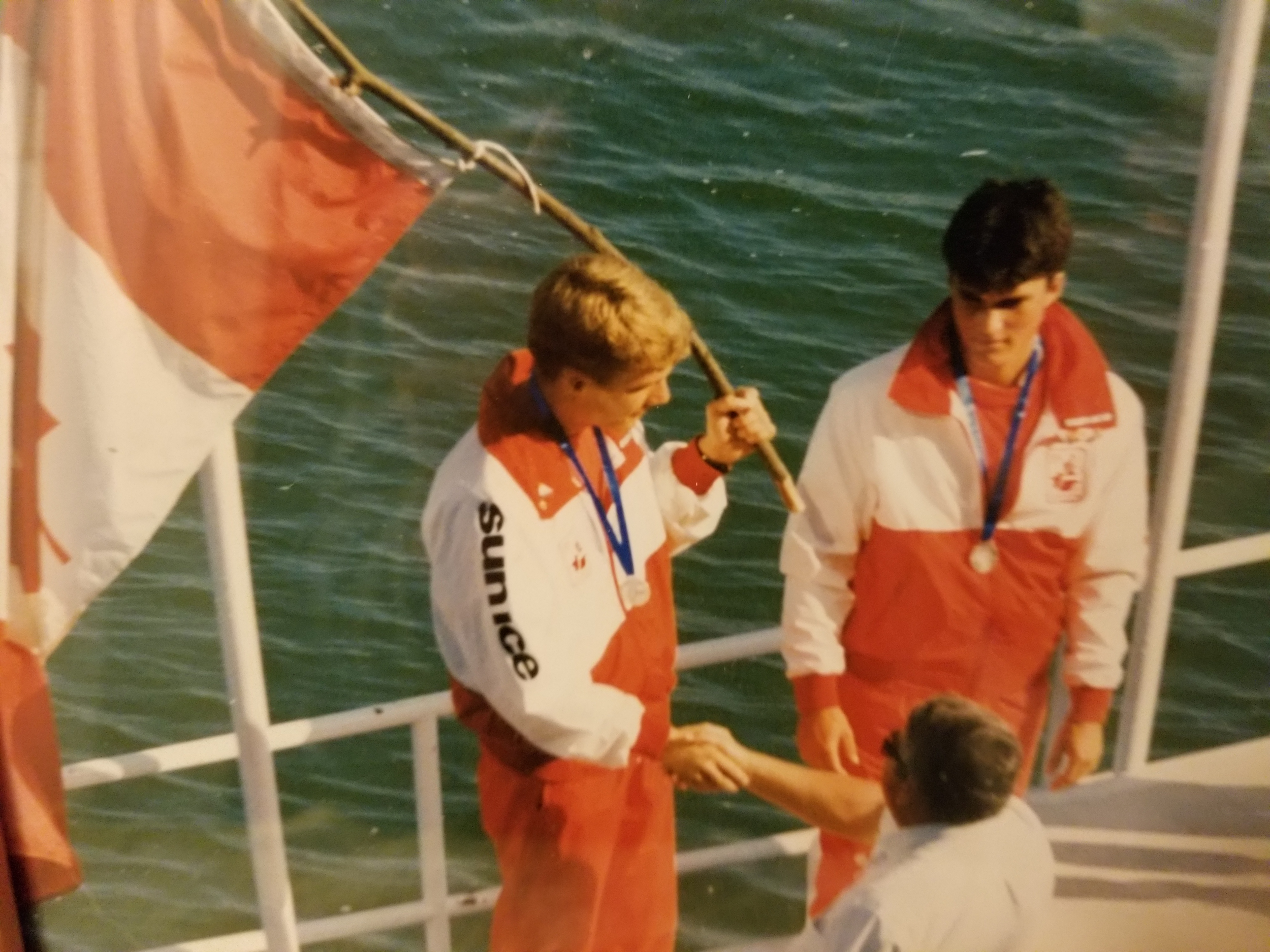 1988  European Junior Championships in Ovieto Spai n, where Glen Girard (right) won  (silver/bronze)  in C-2 with Dan Howe (left) of North Bay.