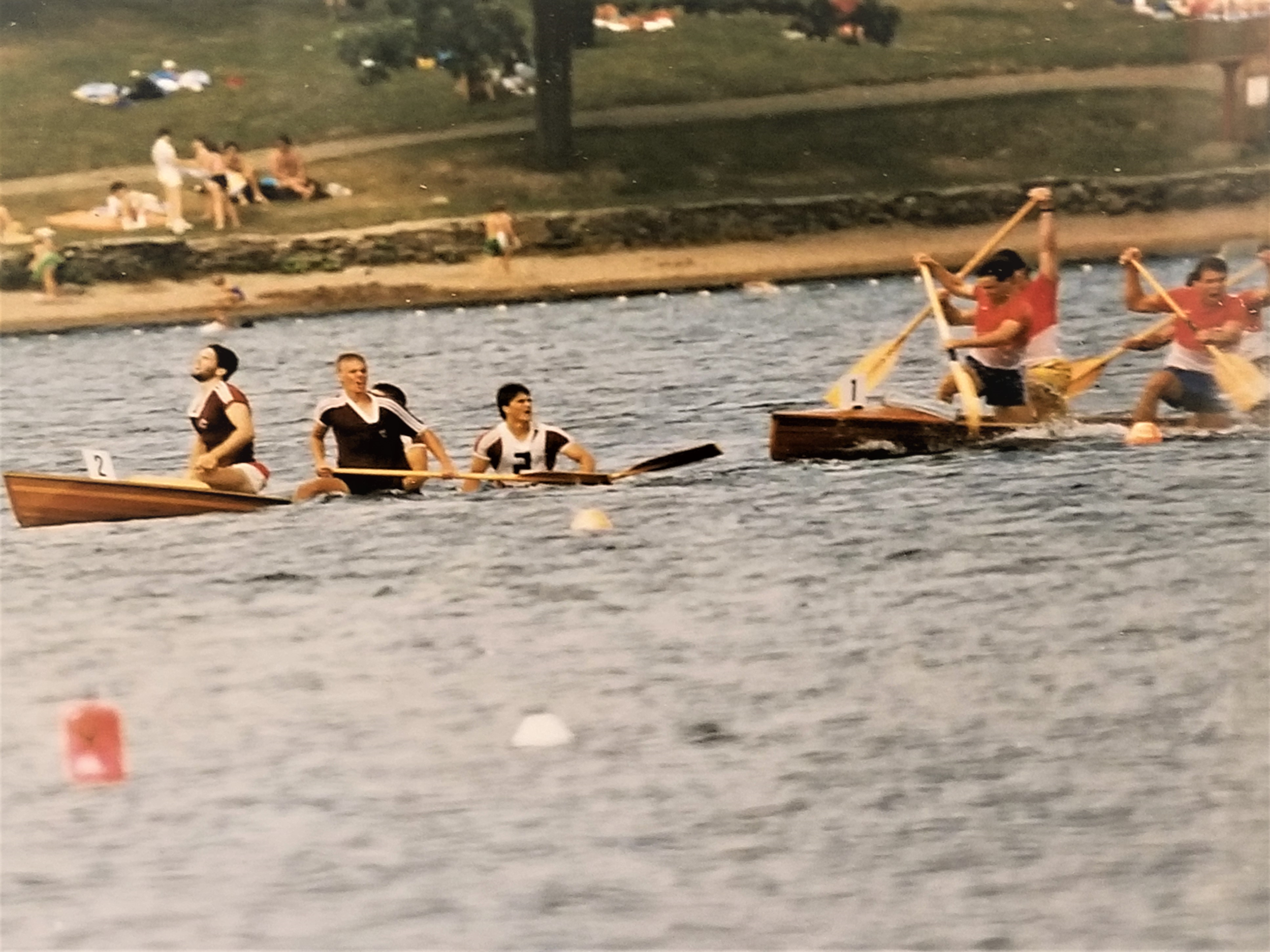Orenda C-4 crew sinking in the last 100m of the 1000m Junior Mens C-4. From left to right: Bryan Burns, Steve Giles, Kevin Mullen (hidden), Glen Girard, and the Banook crew. Dartmouth nationals 1988.