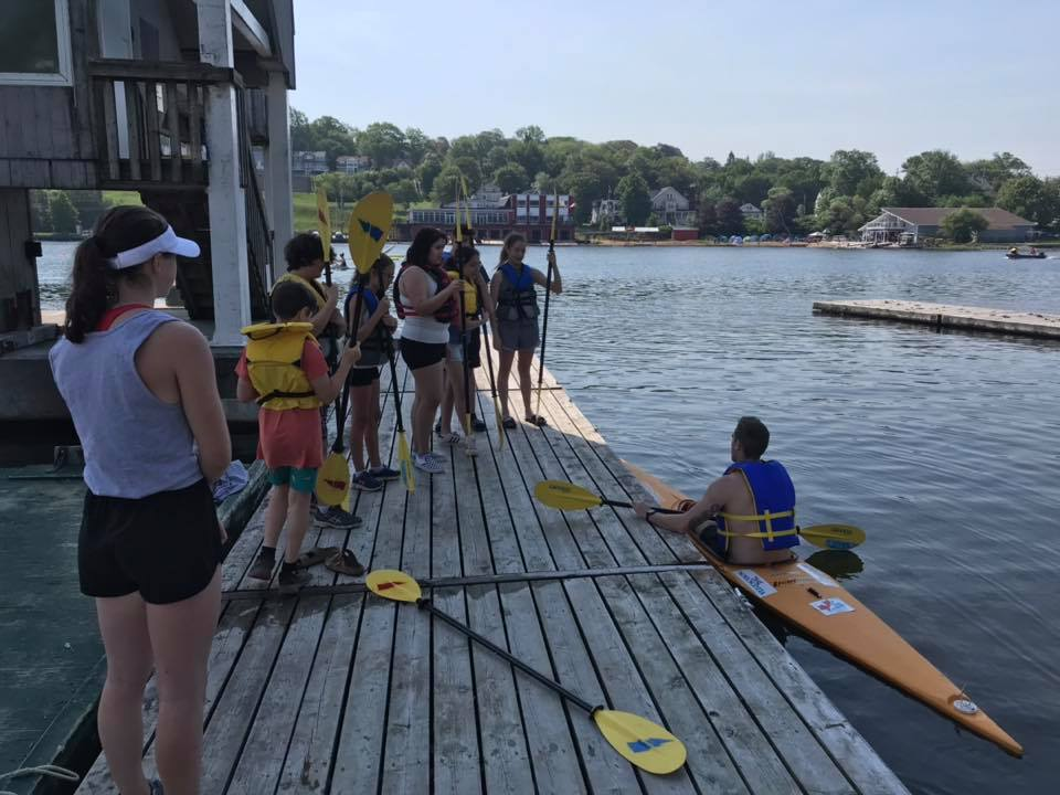 Sports Excellence Lead Jake Jeannot leading a camp for paddlers who expressed interest in learning to paddle and even racing at the North American Indigenous Games (NAIG) for Team Mi'kmaw Nova Scotia.