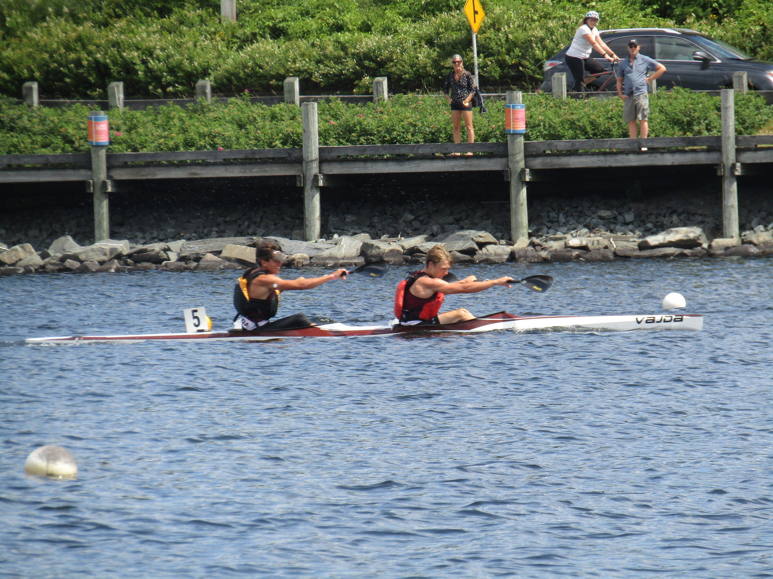 Ethan Firth (front) and Braden Reinhardt (back) competing in the Men's K2 1000m Event at the U14 #2 Regatta on Lake Banook.