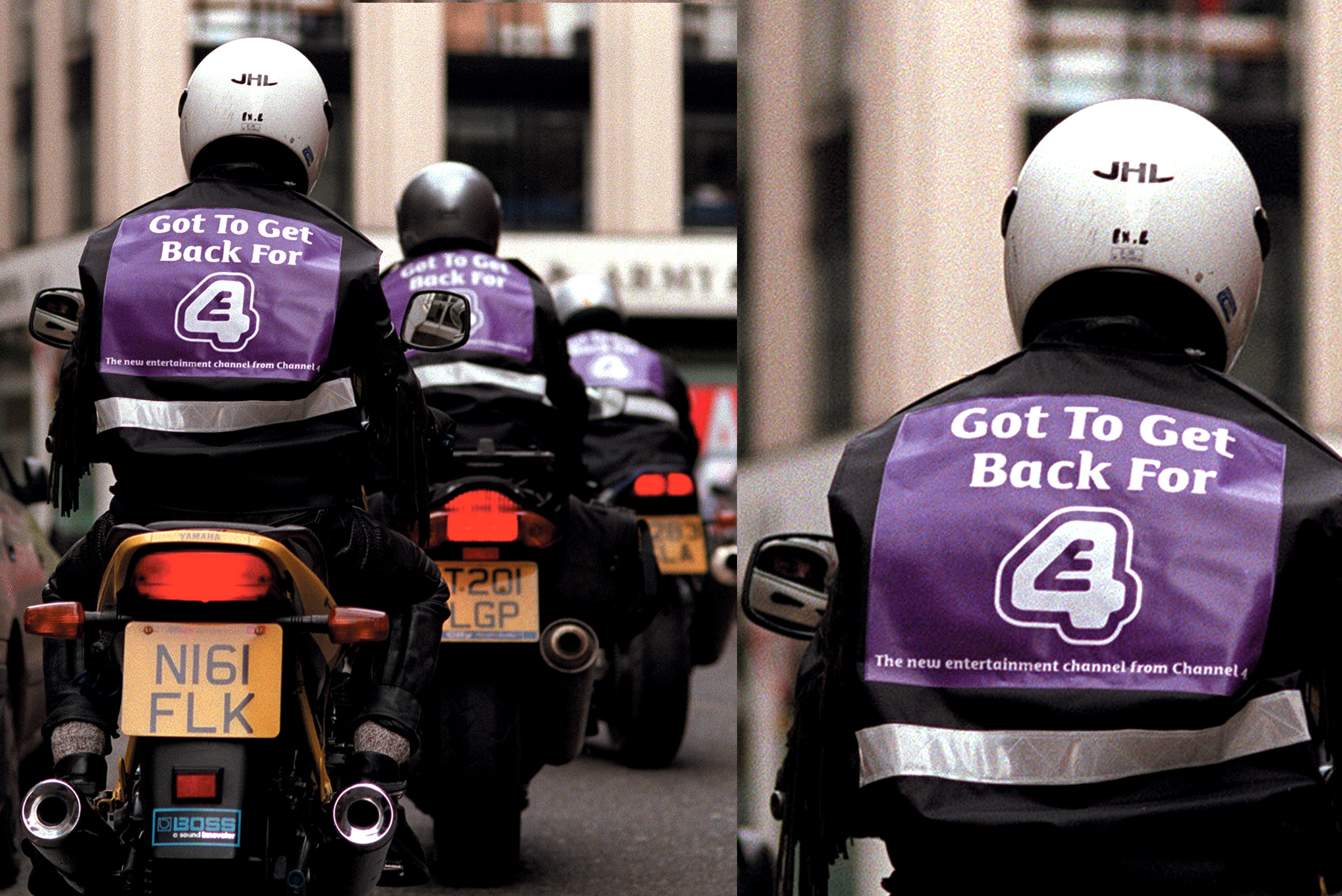 E4 /  Launch of the new TV channel. Innovative media placement on motorbike couriers citywide.