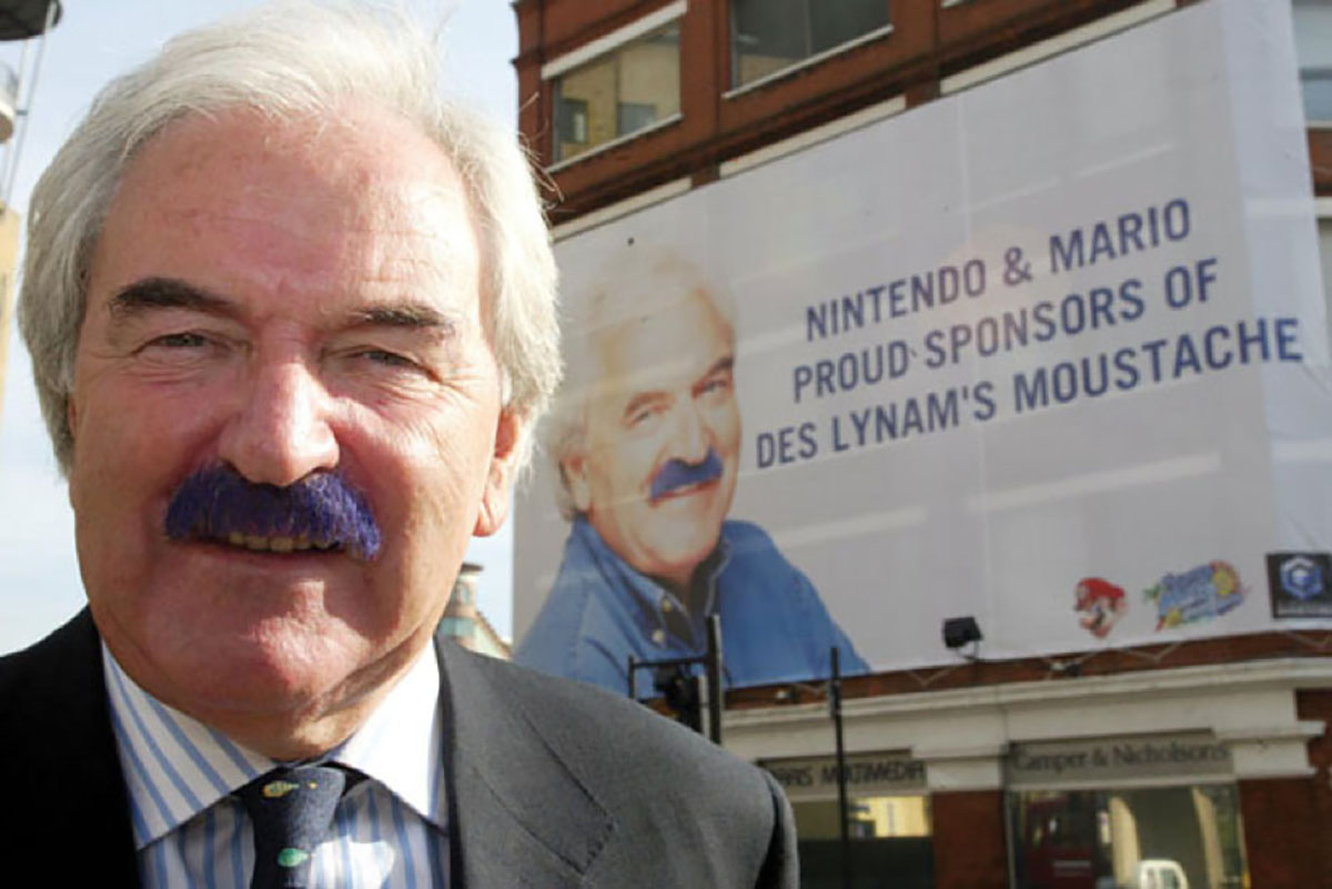 NINTENDO /  The world's first sponsorship of Des Lynam's moustache by colouring it purple.