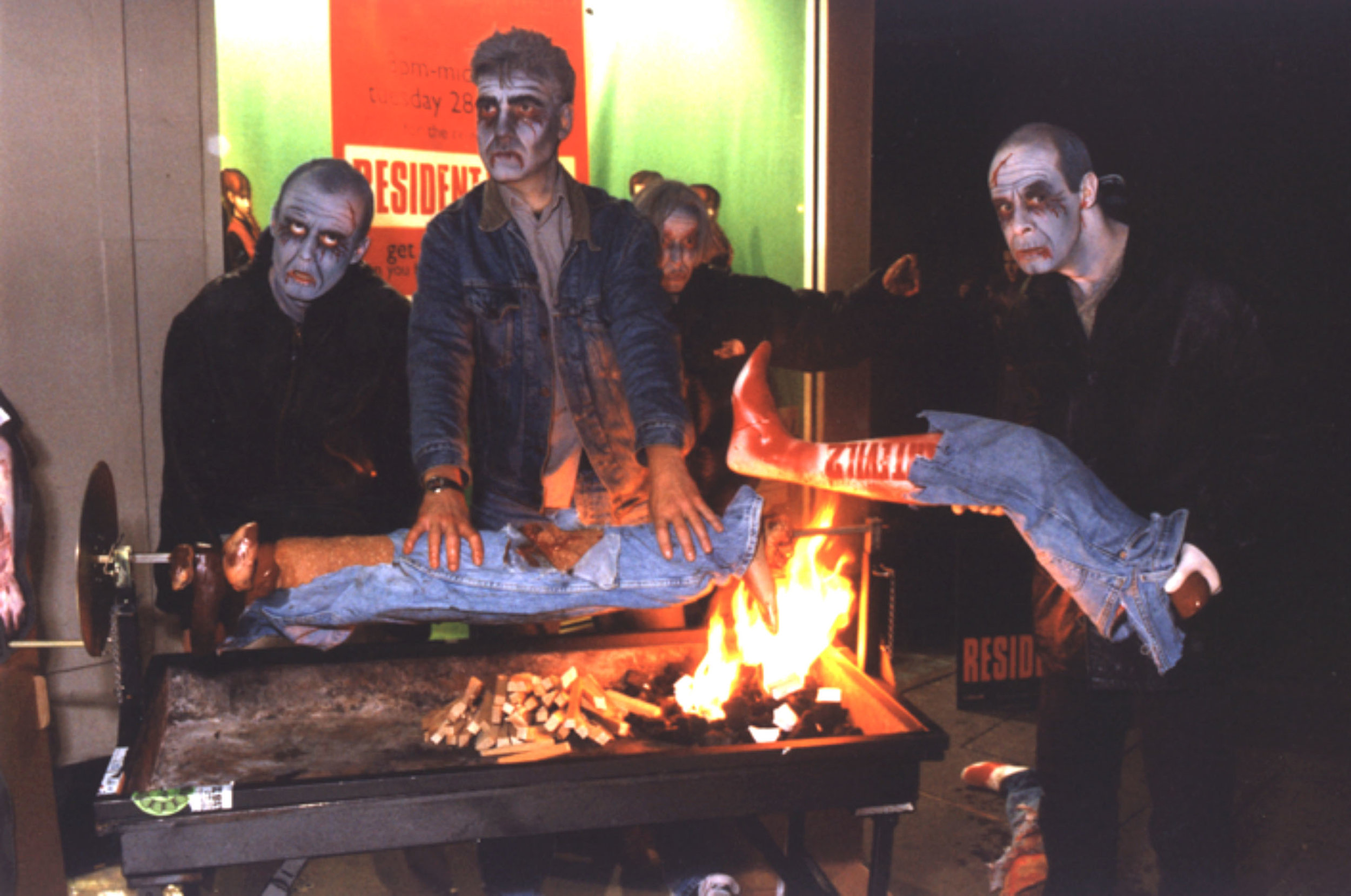 RESIDENT EVIL /  Serving human kebabs outside The Virgin Megastore at midnight for the big launch of the video game.