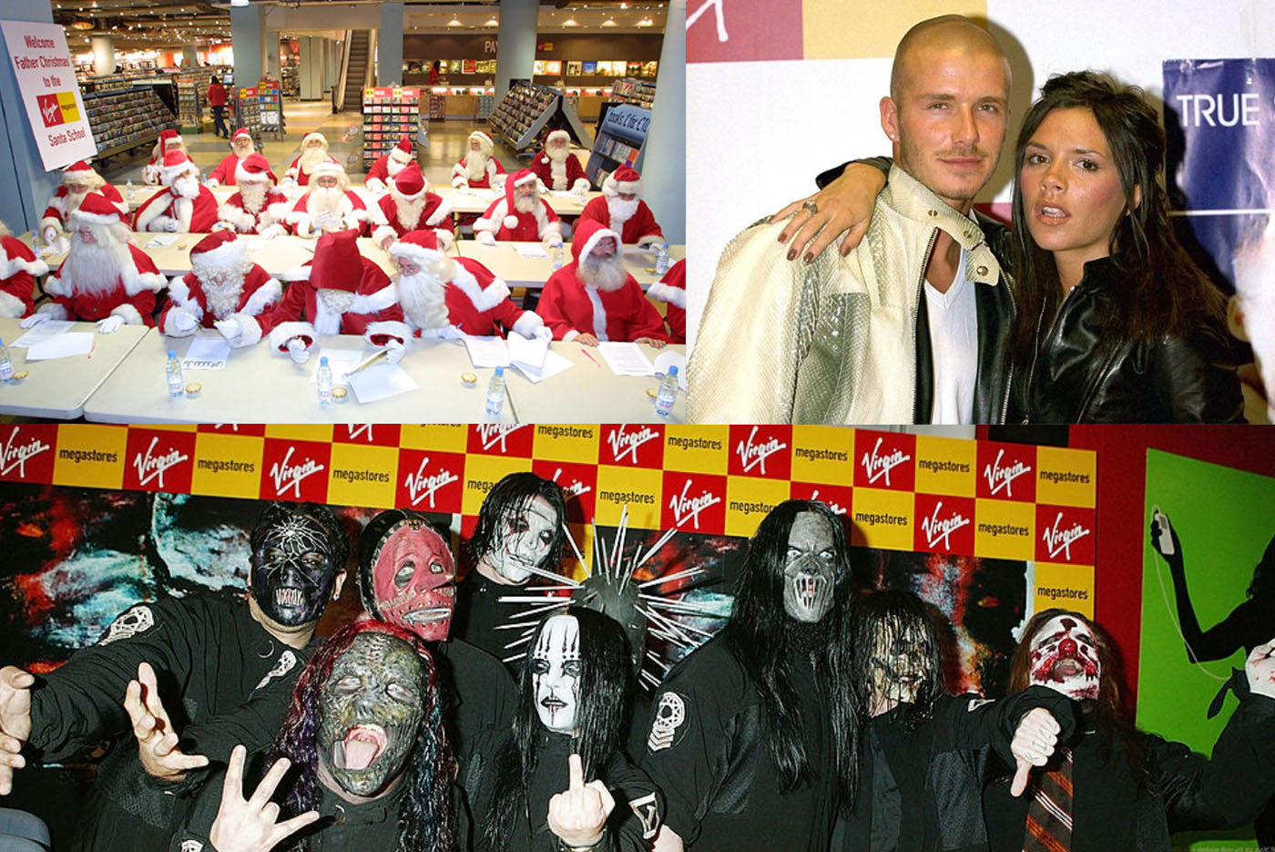 VIRGIN MEGASTORE /  'Santa School', signings and in-store gigs including Kings of Leon and established legends such as David Bowie, as well as crazy sessions with the Beckhams and Slipknot and 10,000 screaming girls and their Mum's shutting down Piccadilly Circus when Westlife appeared.