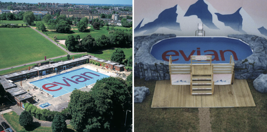 EVIAN /  It started with the first ever swimming pool at a UK festival and became a three year installation, saving the Brockwell Lido from closure with a clever piece of sponsorship, which as a bonus, could be seen on the flight path into Heathrow Airport.