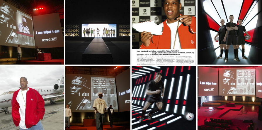 REEBOK /  Designing and staging fashion shows with Ryan Giggs and fellow footballers. Sending Venus Williams down the catwalk for three years running to unveil her Wimbledon dresses for Reebok. The launch of Rbk 'I am what I am' campaign with 50 cent in a giant warehouse in East London and Europe's media. Jay Z, a private jet, a pair of new trainers and a windy corner of Luton airport.