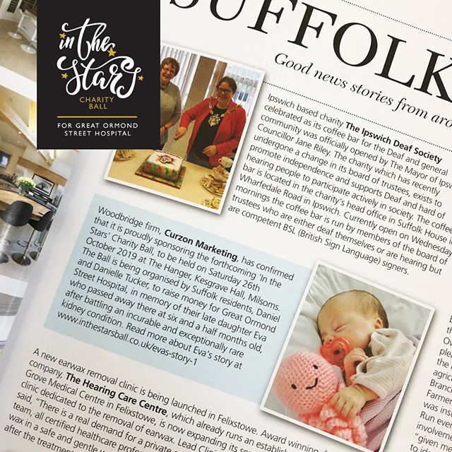 It was so lovely seeing our beautiful Eva in this months Essential Suffolk Magazine. The piece talks about the ball and the support of one of our Diamond Sponsors, Curzon Marketing.  #greatormondst #inthestarsball2019 #curzonassociatemarketing #charity #milsomskesgravehall #GOSH #suffolk #ipswich