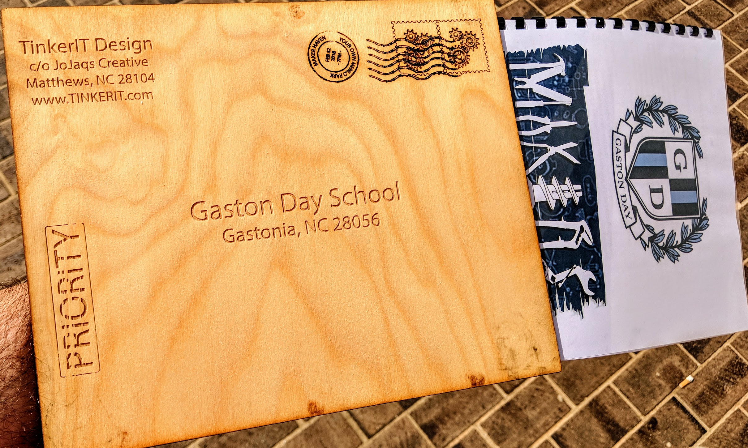 The Maker Space deign document for Gaston Day School, made from laser-cut Baltic Birch.