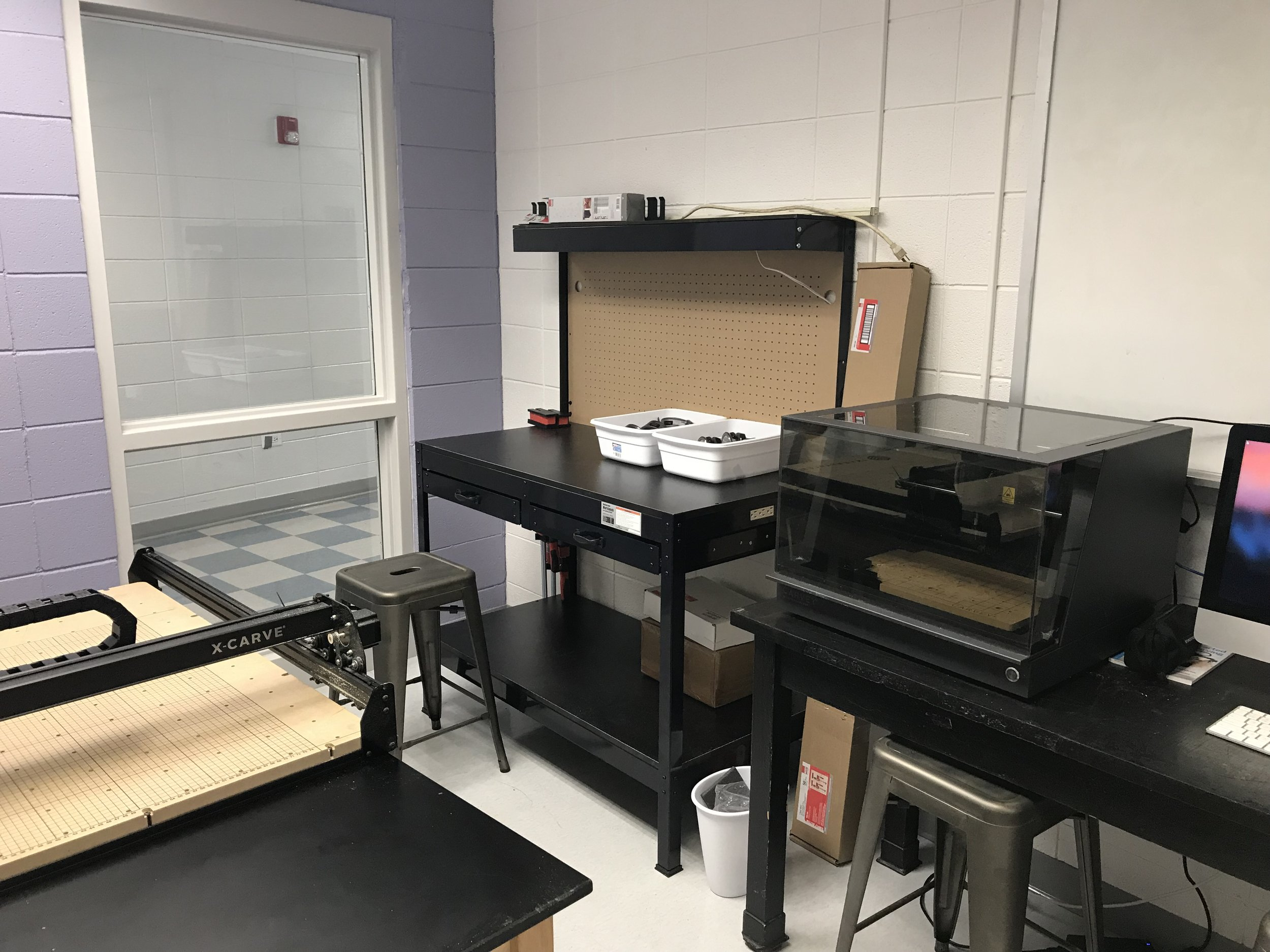 X-Carve and woodworking room after