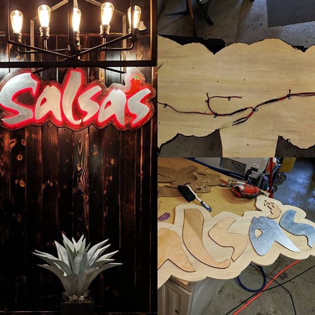 The @salsasmexicangrille entrance sign is complete and installed.  We added red LED lights to #lasercut wood, painted with some awesome @rustoleum metal paint and stained with a @varathane poly-stain.  Next will be some cast resin mock-tails of their signature drinks to live in shadow boxes. . . . #tinkerit #charlottenc #customwoodwork #woodworking #woodart #clt