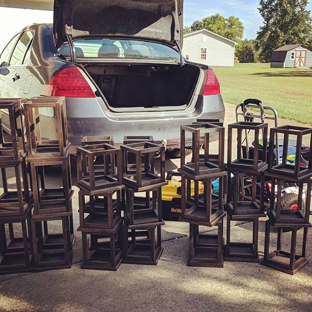 Today's #tinkerit challenge is to fit 36 #weddingcenterpieces into the trunk of a sedan for delivery on my way to #makerfaireatl  BTW they all fit... Where are my clothes going? . . . #customwoodwork #notruck #tetrischallenge #atlmakerfaire