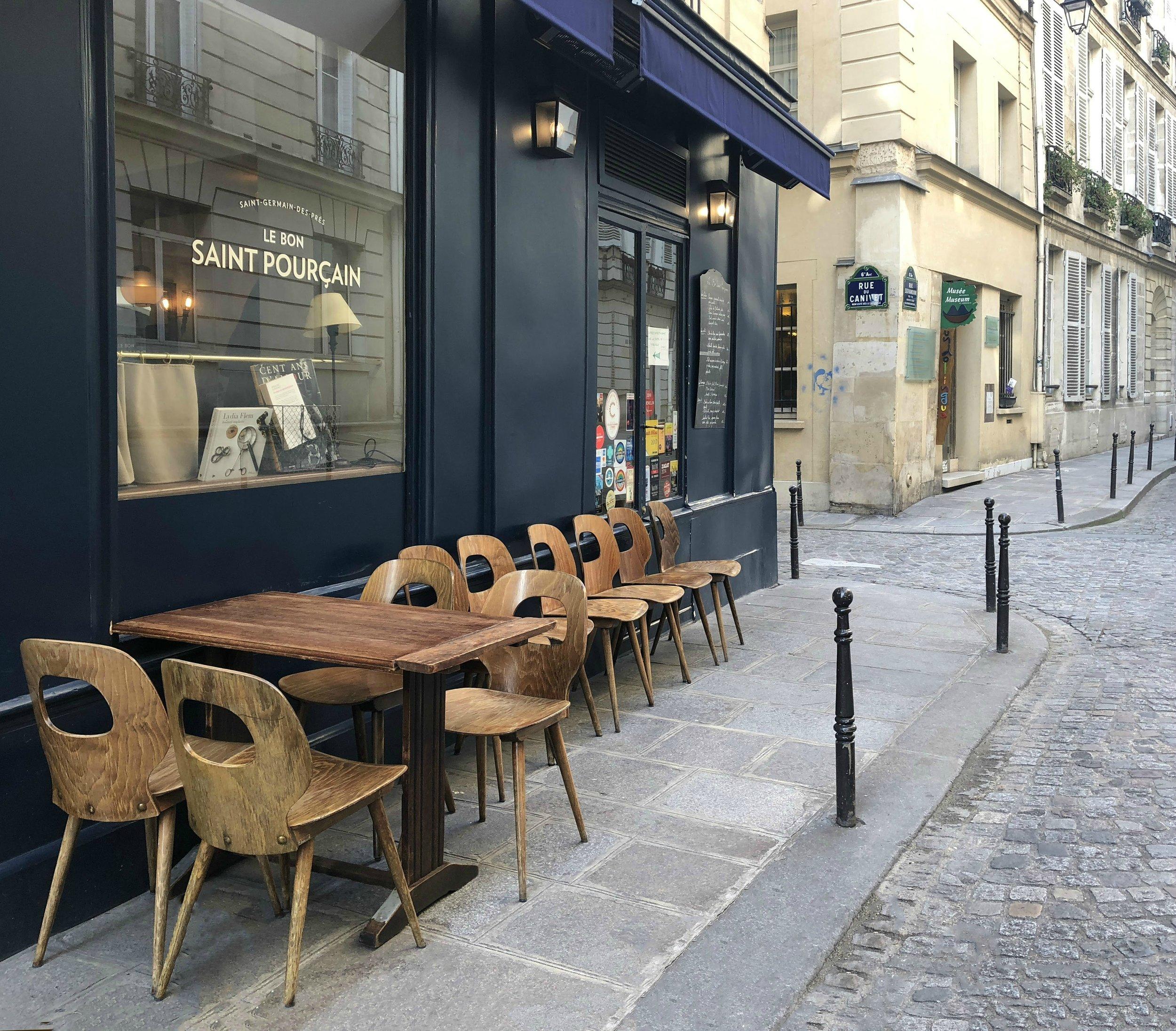 Le Bon Saint Pourçain, 10 rue Servadoni, 6th Arrondissement, Paris, Tel. (33) 01-42-01-78-24. Metro: Saint Sulpice or Mabillon.