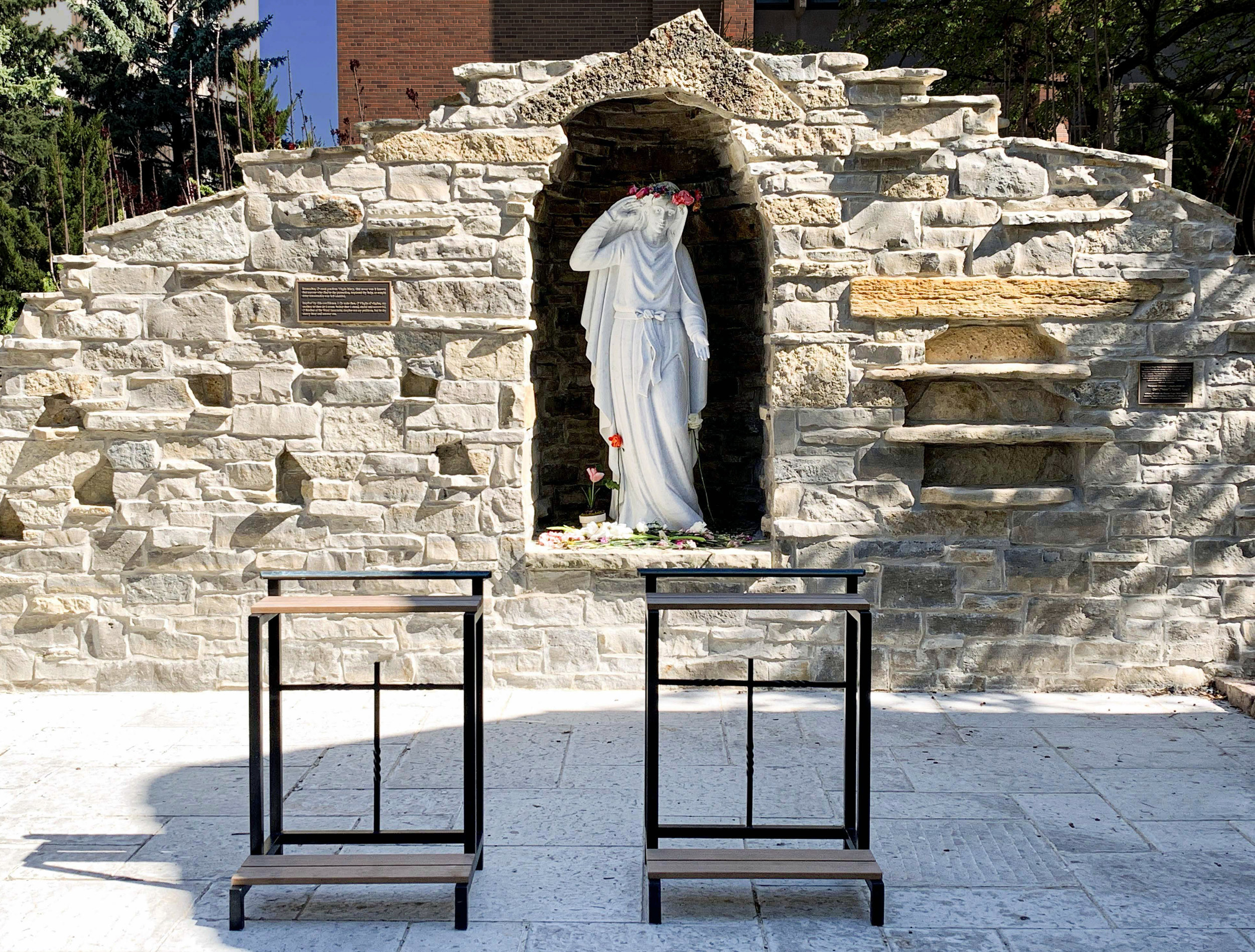 This beautiful  Grotto of the Blessed Virgin , behind  Saint Joan of Arc Chapel  on the Marquette University campus, was dedicated earlier this year to honor  Our Lady of Lourdes . The sacred space reminds us that our Blessed Mother always hears our prayers.
