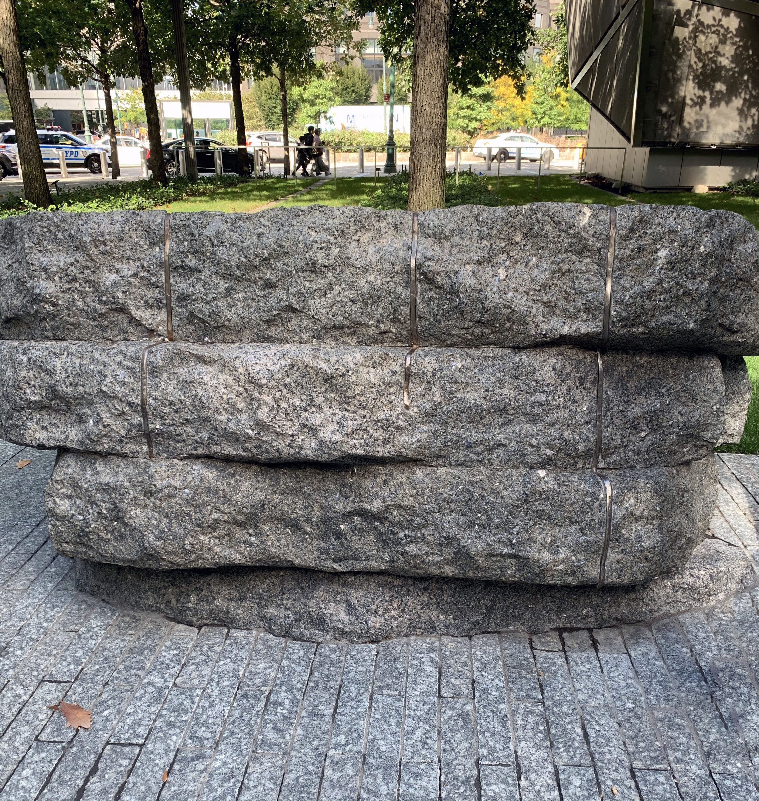 Opened in May 2019, the Memorial Glade that honors first responders who later got sick or died after inhaling toxins at the World Trade Center site. Six large battered stones appear to jut up and out of the plaza as if violently displaced, and convey strength and resistance.