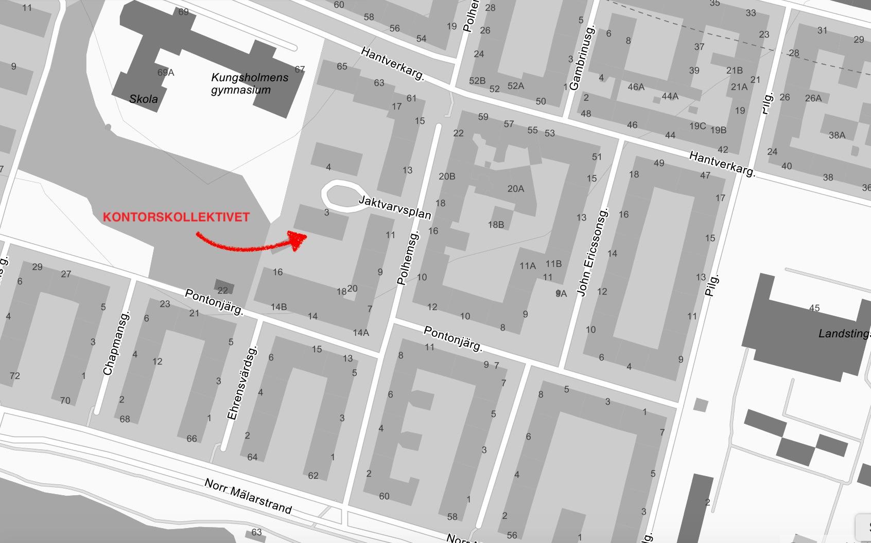 Kontorskollektivet ligger på gården mellan Jaktvarvsplan 3 och Pontonjärgatan 16. Kollektivt tar dig smidigt hit med tunnelbana till Fridhemsplan och Rådhuset eller buss 3, 50, 54 till Polhemsgatan alternativt buss 61 till Pontonjärparken. Om du inte cyklar eller promenerar längs vackra Norr Mälarstrand.  Vid frågor - ring Fredrik Pallin via 0708-114 115.