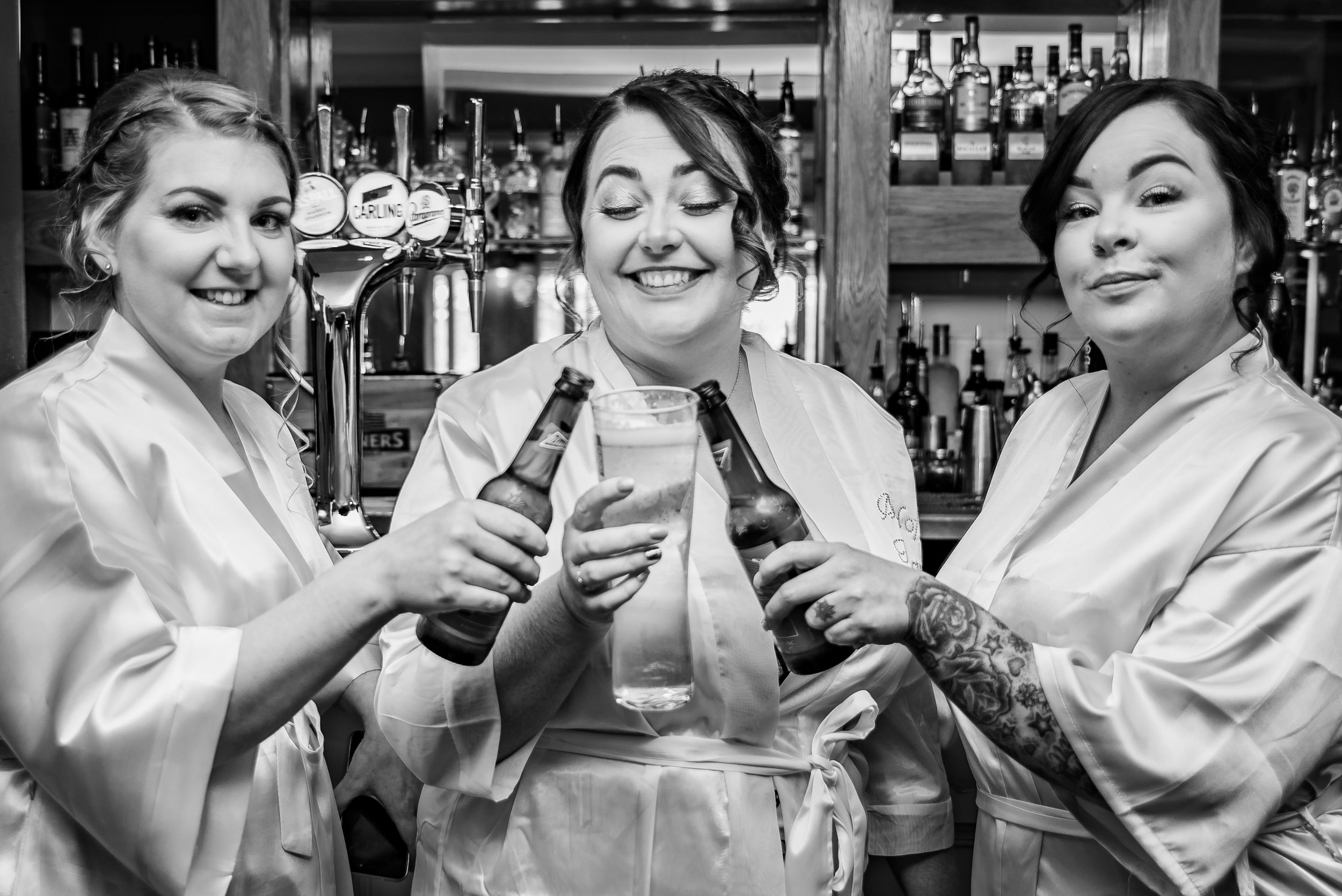When the bridesmaids decide to head to the pub in between having their hair and make up done is a recipe for a fun wedding!