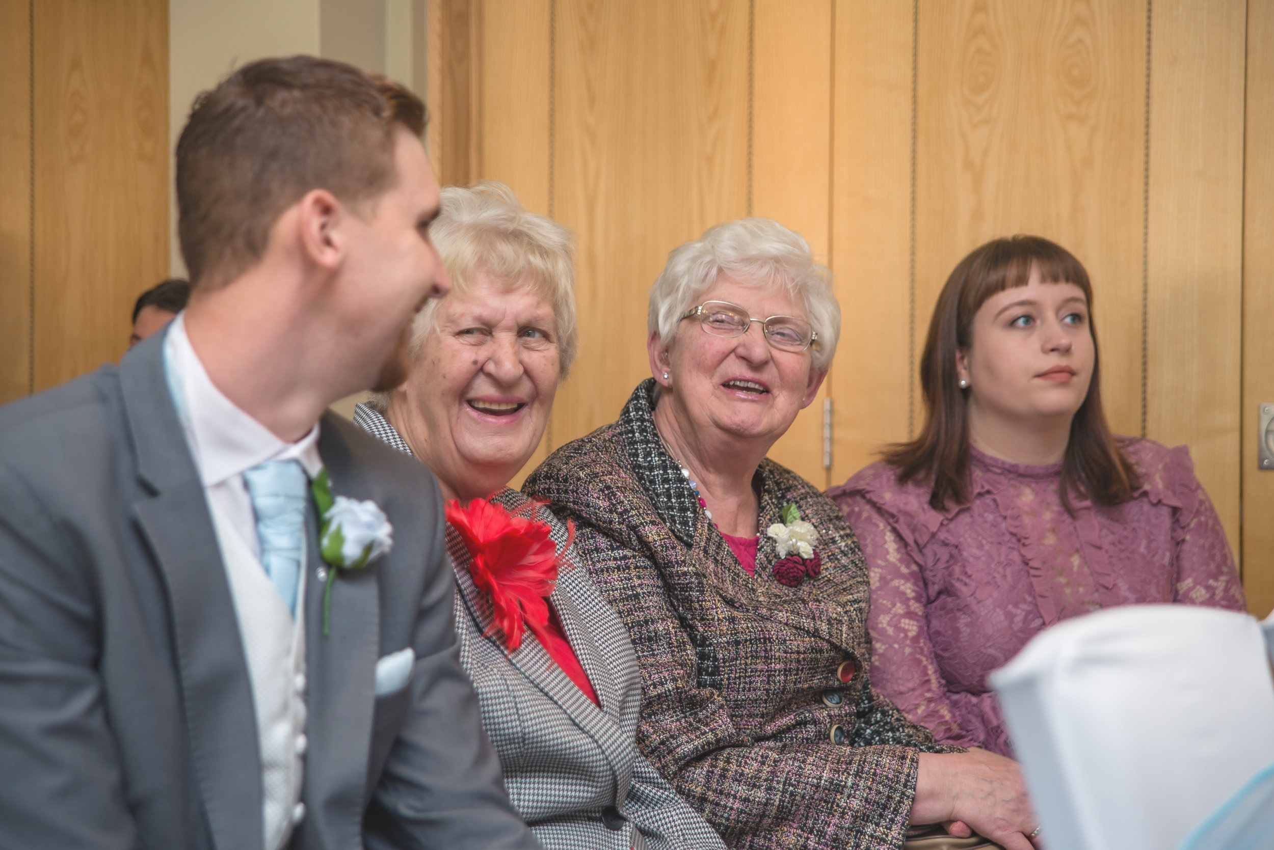 wedding photography, family grandmothers laughing