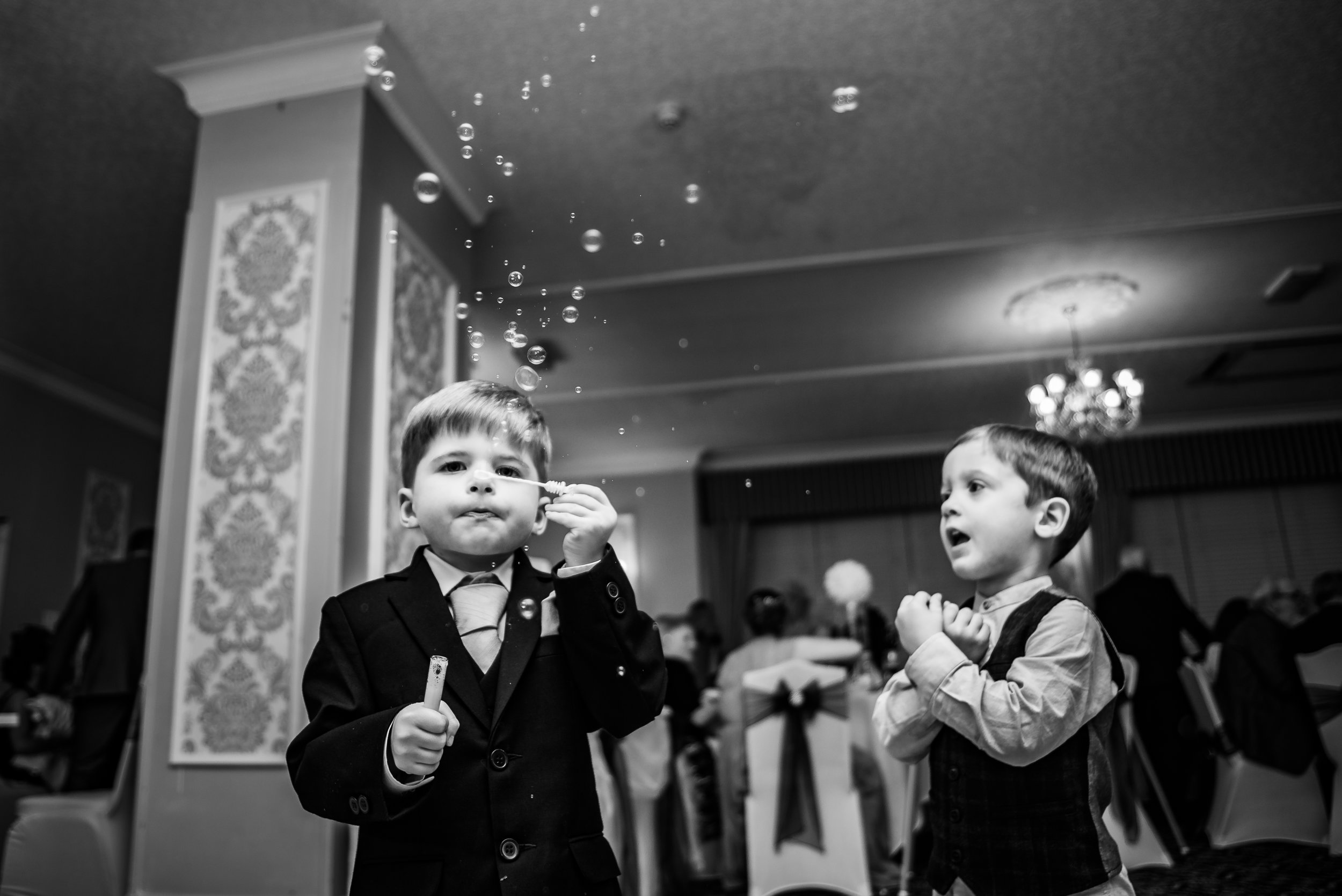 black and white wedding photography bubbles anyone