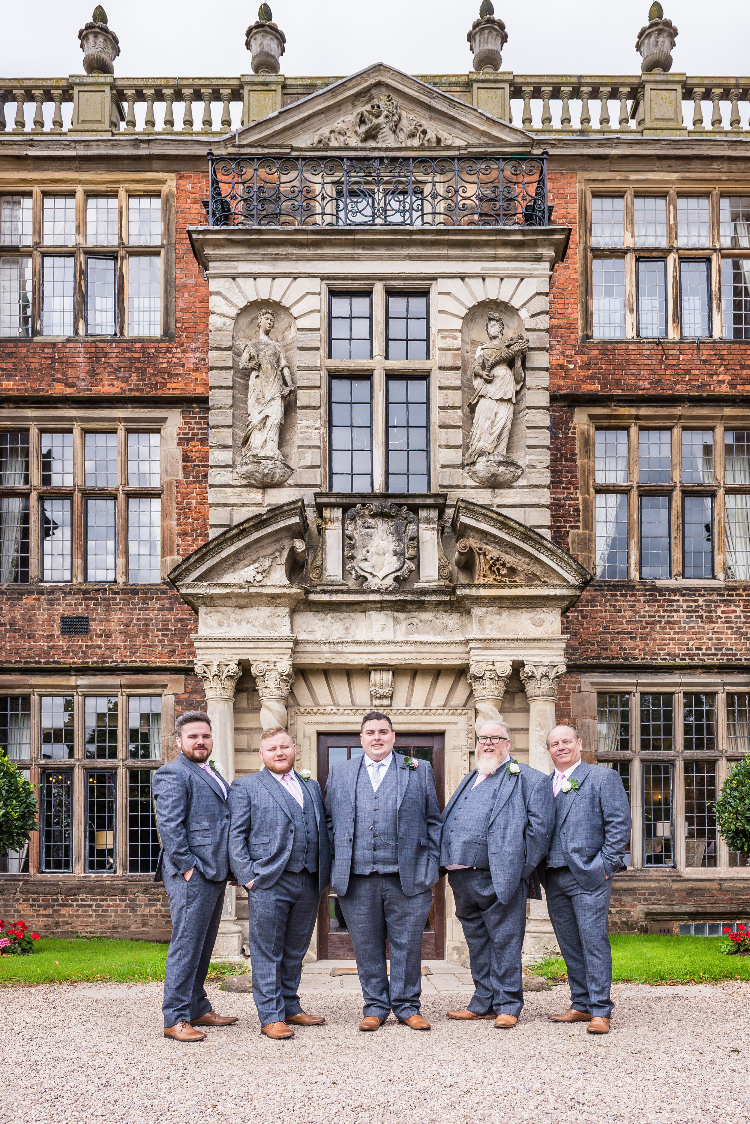 castle Bromwich hall hotel wedding photography groom and groomsmen formal portrait