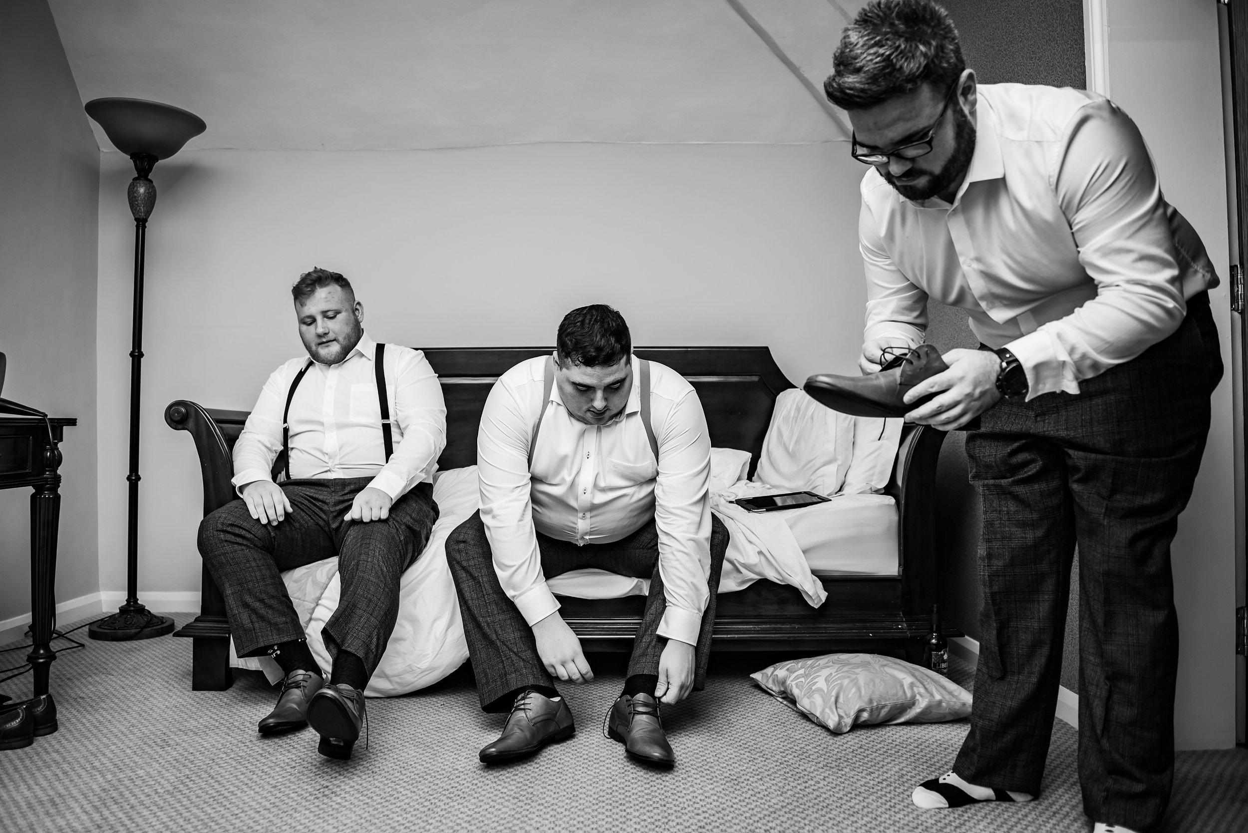 castle Bromwich hall hotel wedding photography groomsmen getting ready