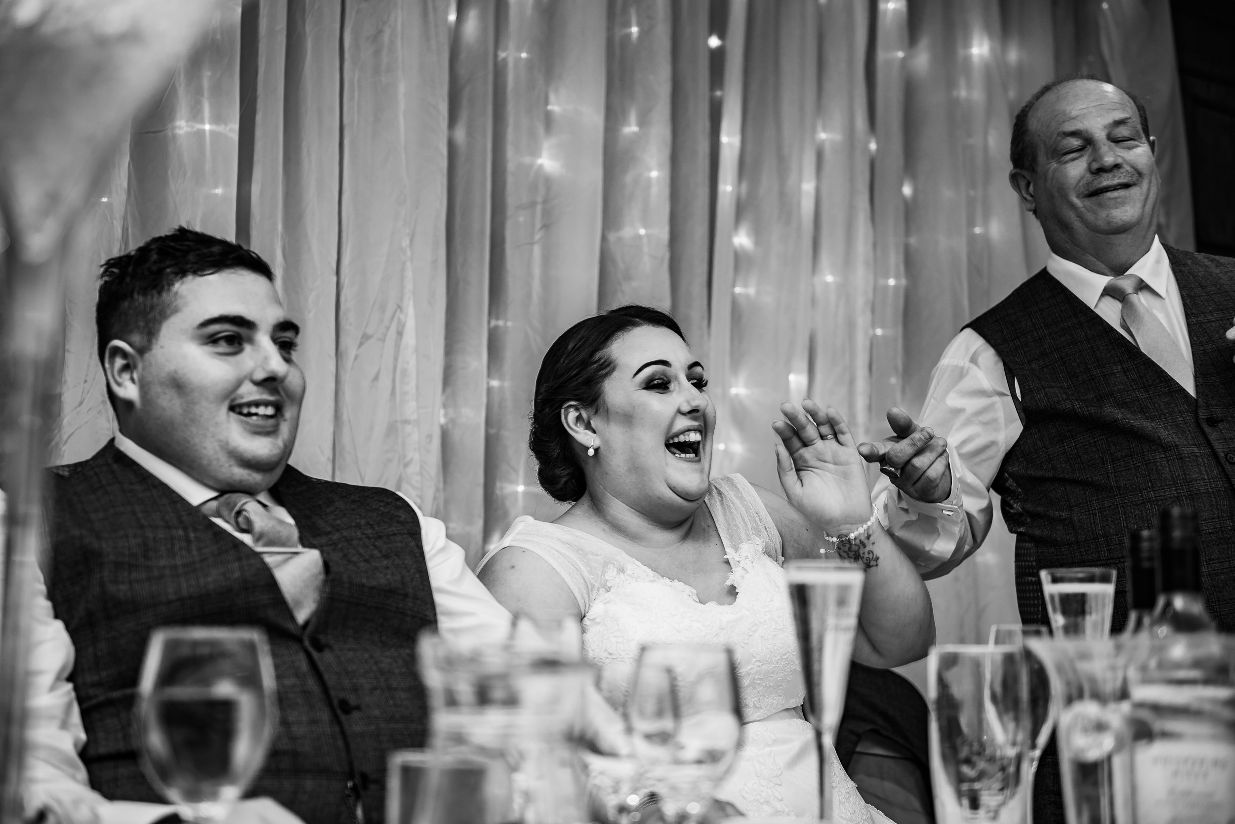 castle Bromwich hall hotel wedding photography natural black and white photography speeches father embarrassing daughter