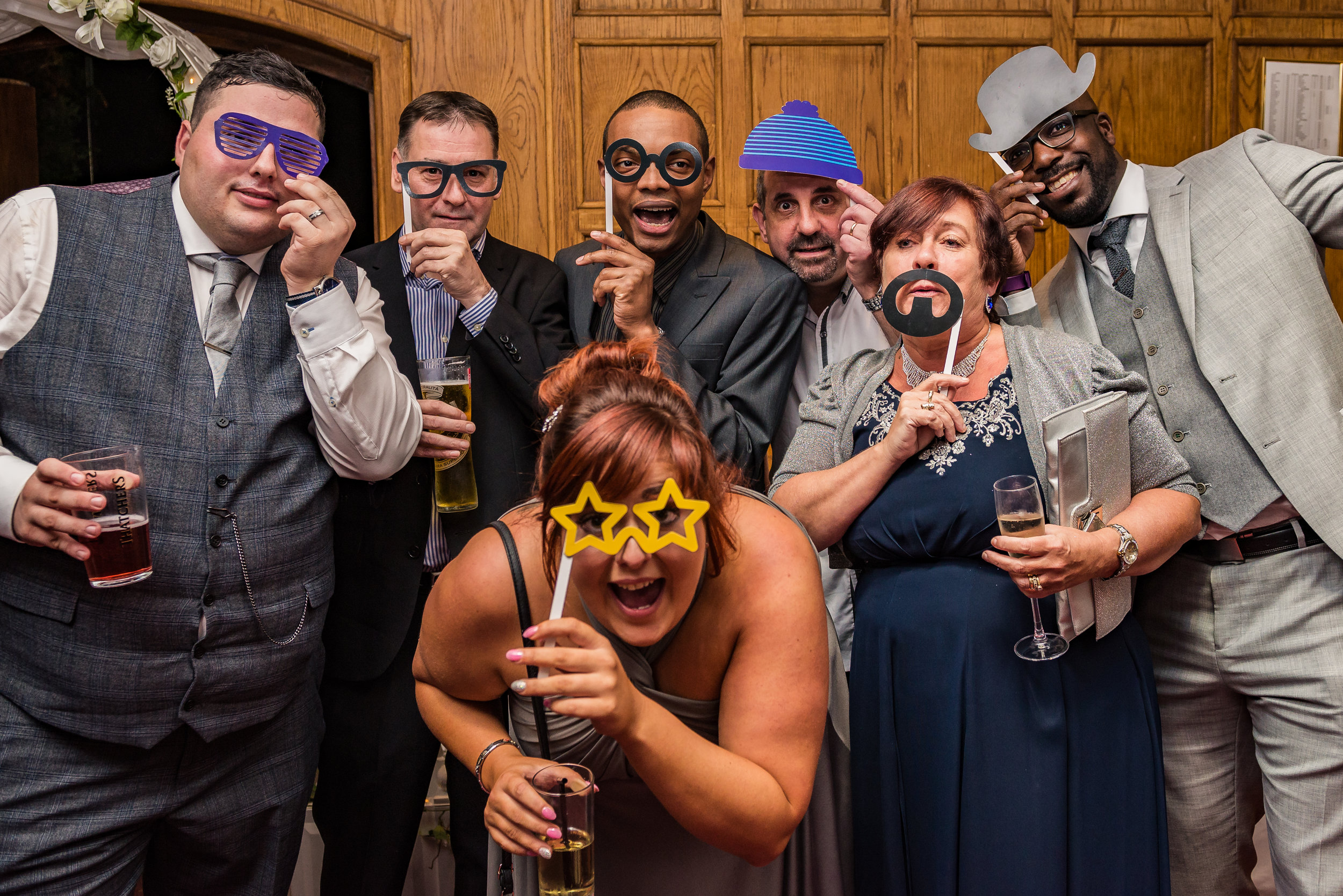 castle Bromwich hall hotel wedding photography fun party photographs with wedding guests
